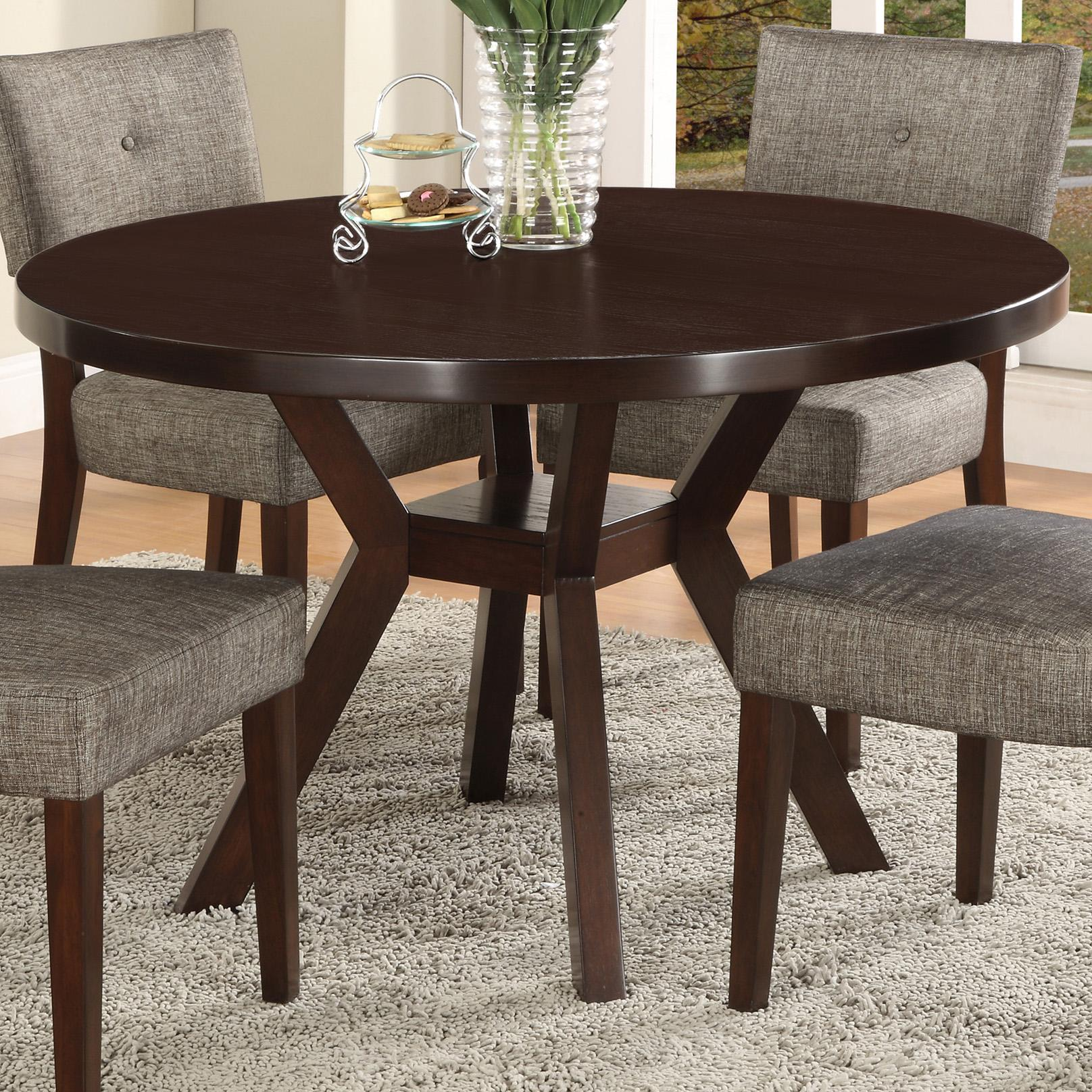 Crown mark kayla 2610t 48 round trestle base dining table for Dining room tables 48 round