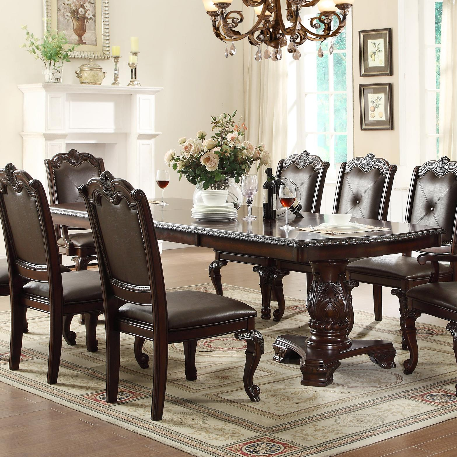 Crown mark kiera traditional double pedestal dining table for Good dining room tables