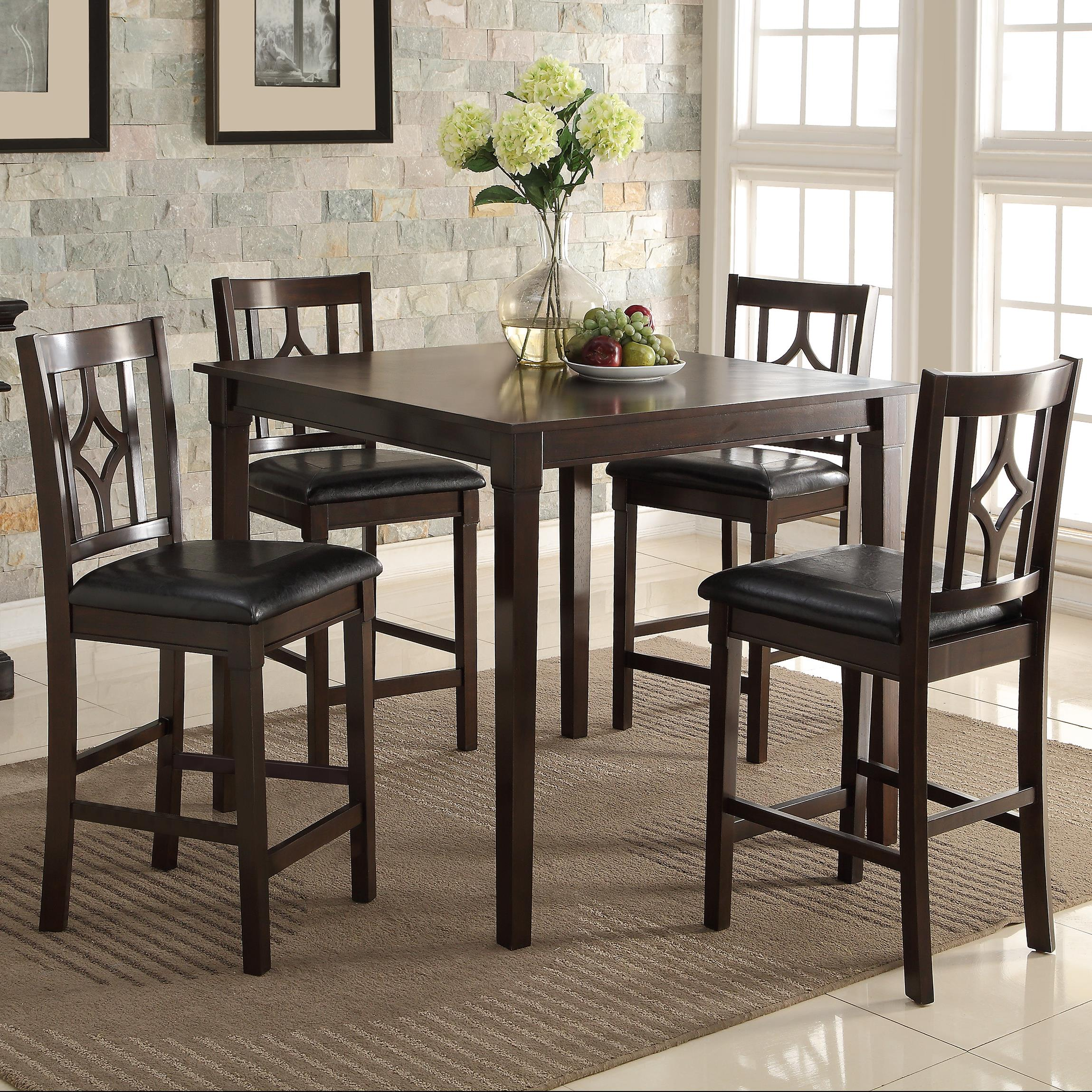 Crown mark leon 2713set counter height table set with four for Leon s dining room tables
