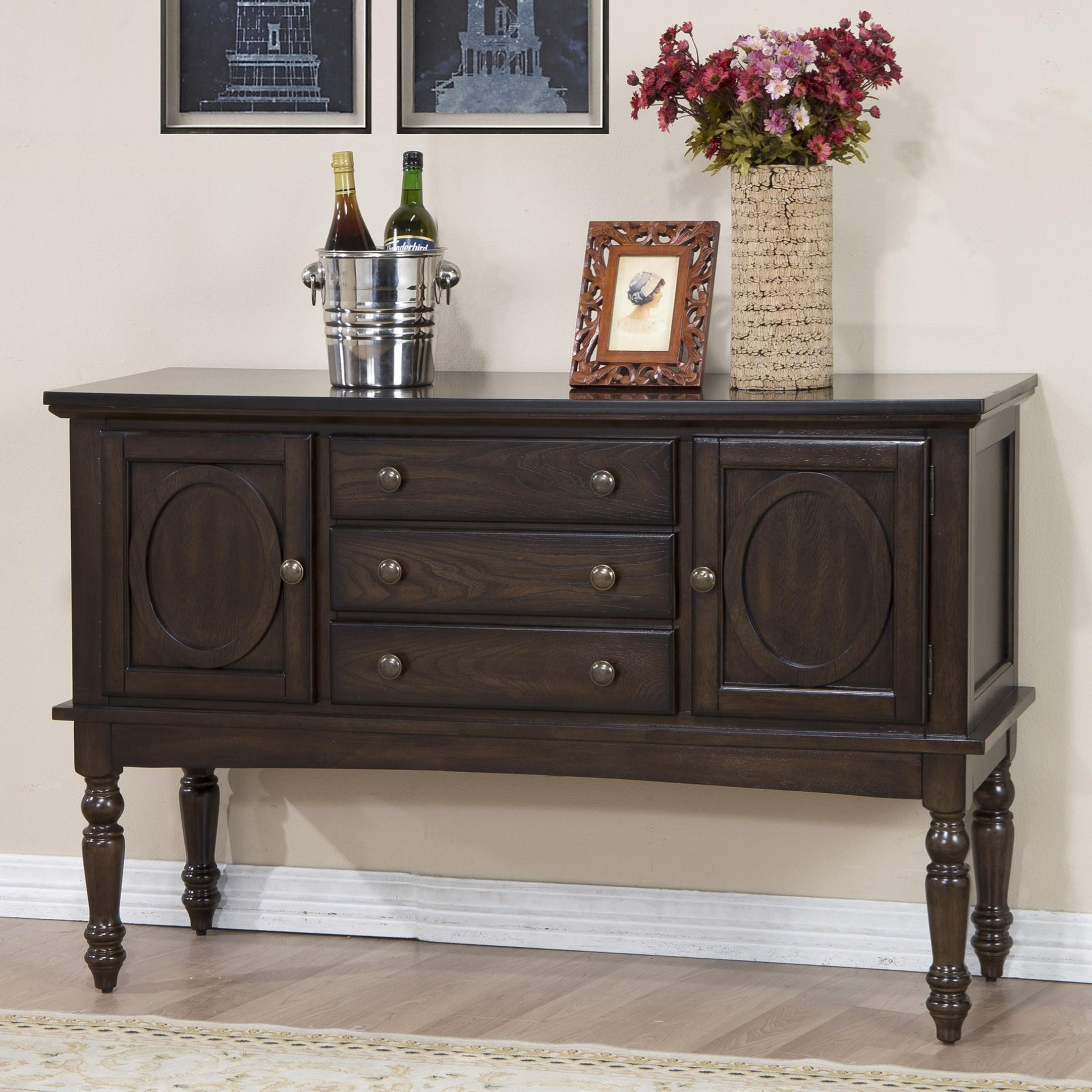Crown mark lyla 2331 sb sideboard with turned legs dunk for Furniture markup