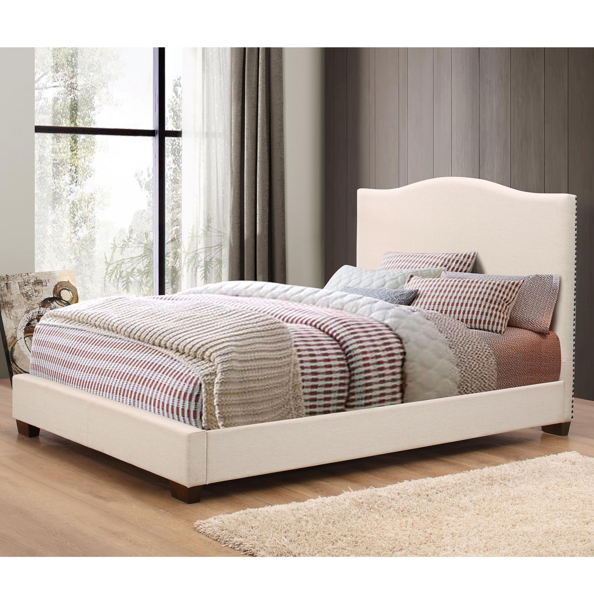 Crown mark mara cream upholstered queen bed royal for Royal headboard