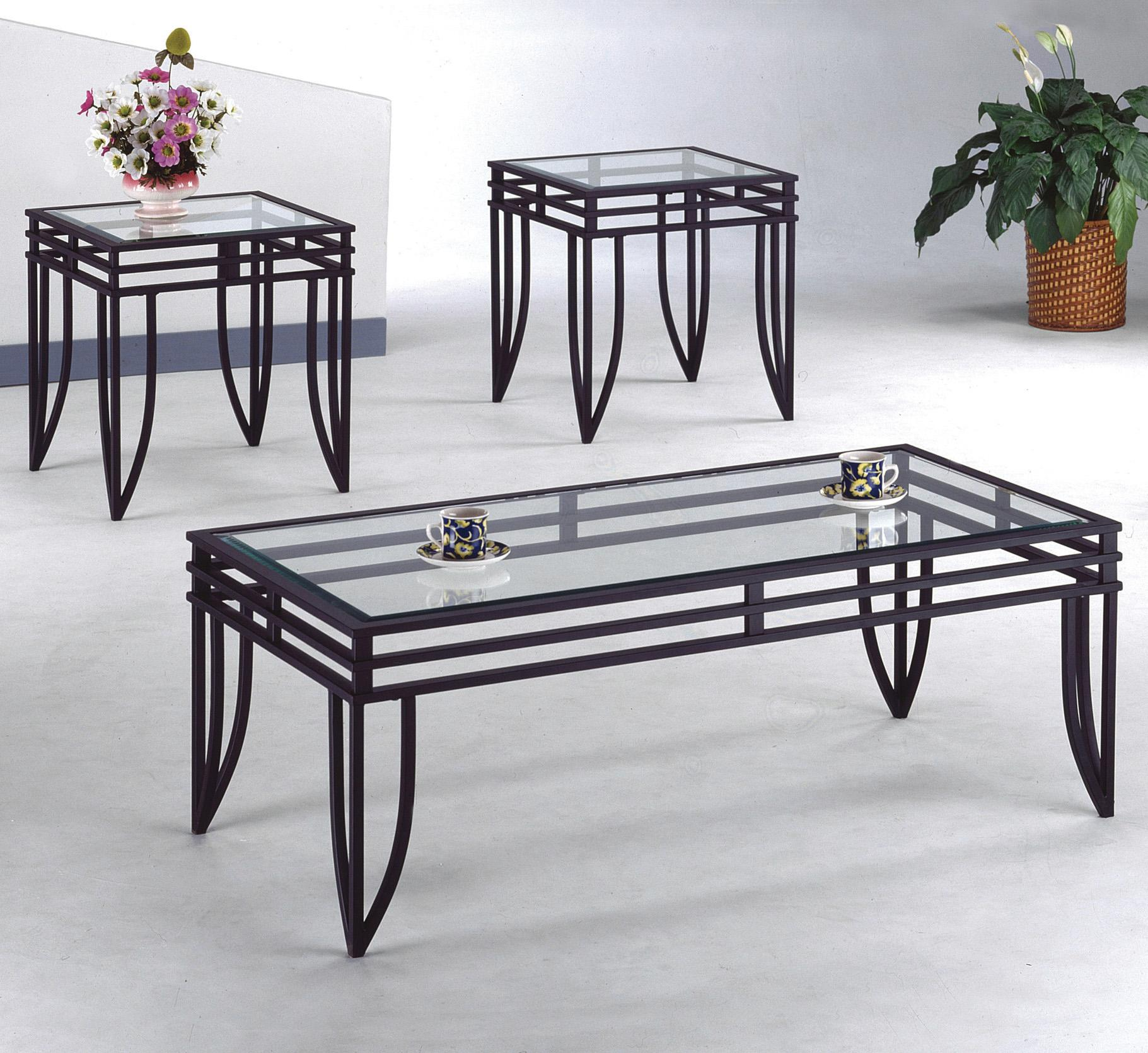 Crown mark matrix 3 piece cocktail and end tables set for Occasional table manufacturers