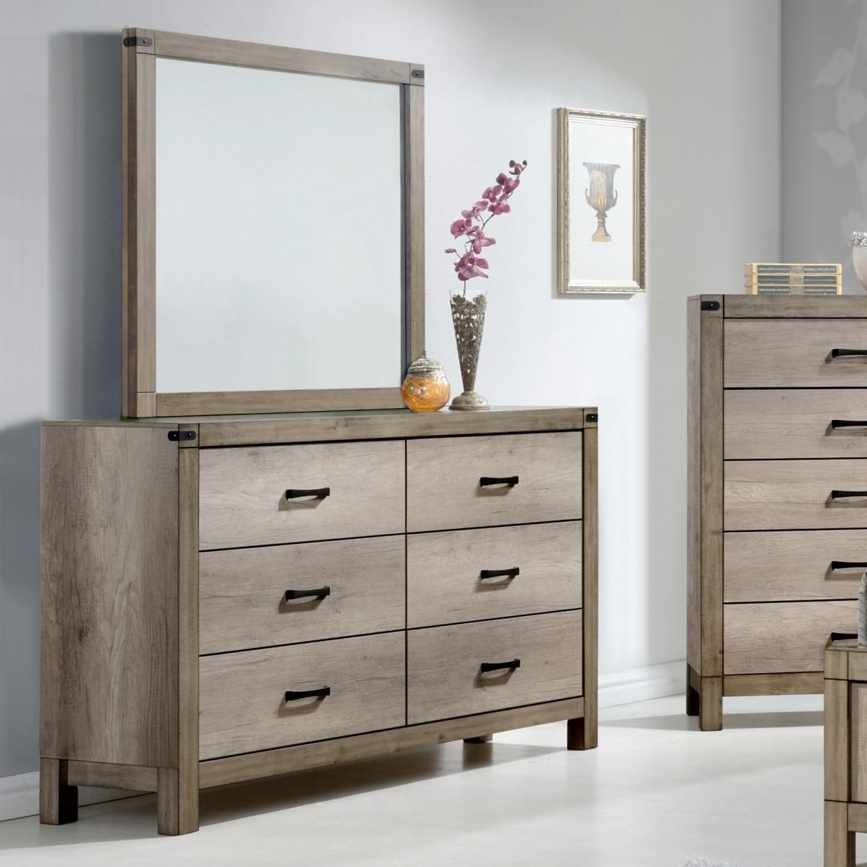 Crown mark matteo contemporary dresser and mirror set for Furniture markup