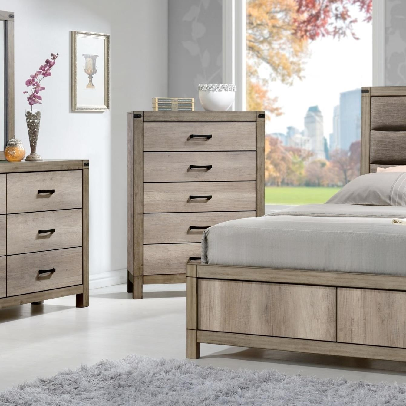 Crown mark matteo b3200 4 contemporary five drawer chest for Furniture markup