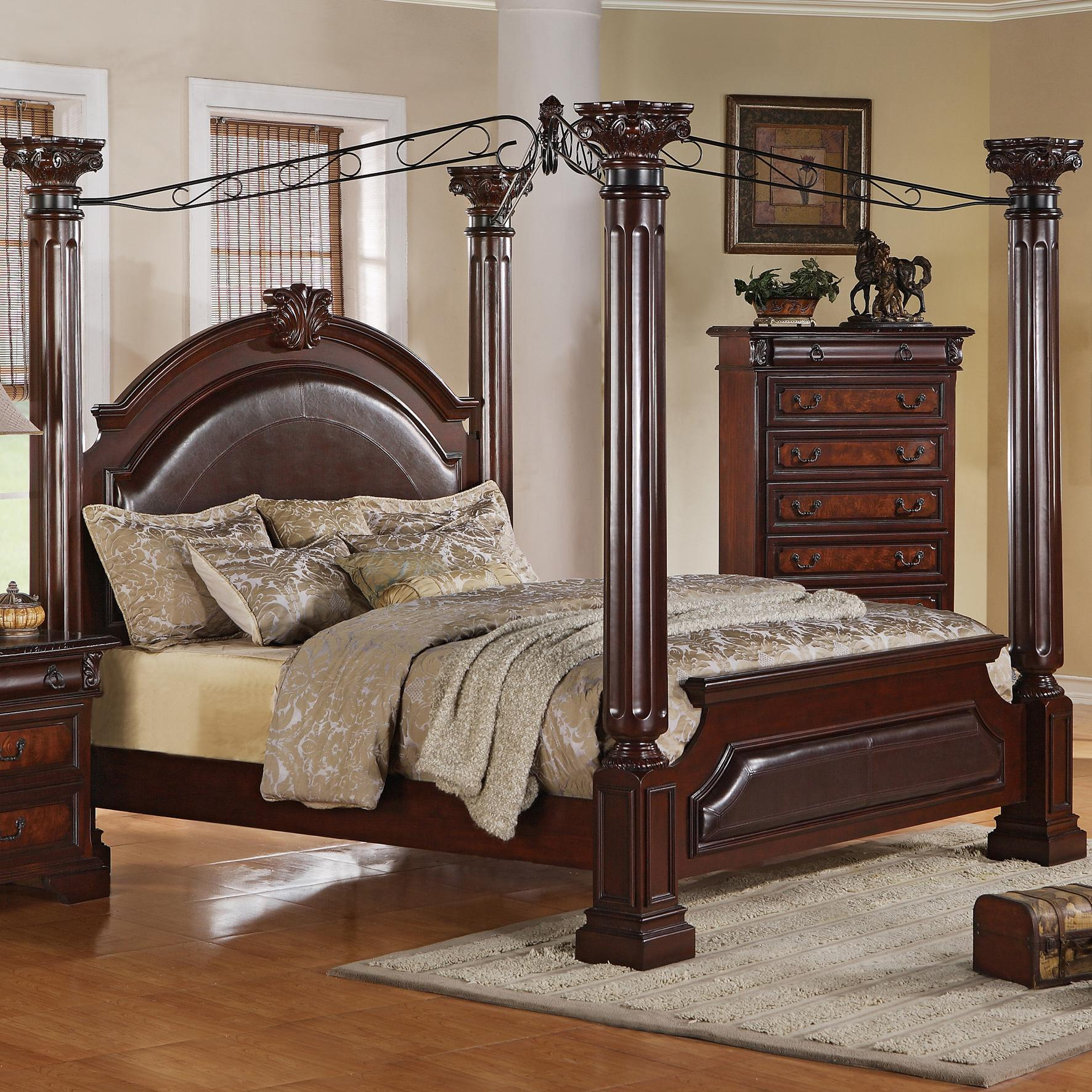 Crown Mark Neo Renaissance King Poster Bed With Decorative