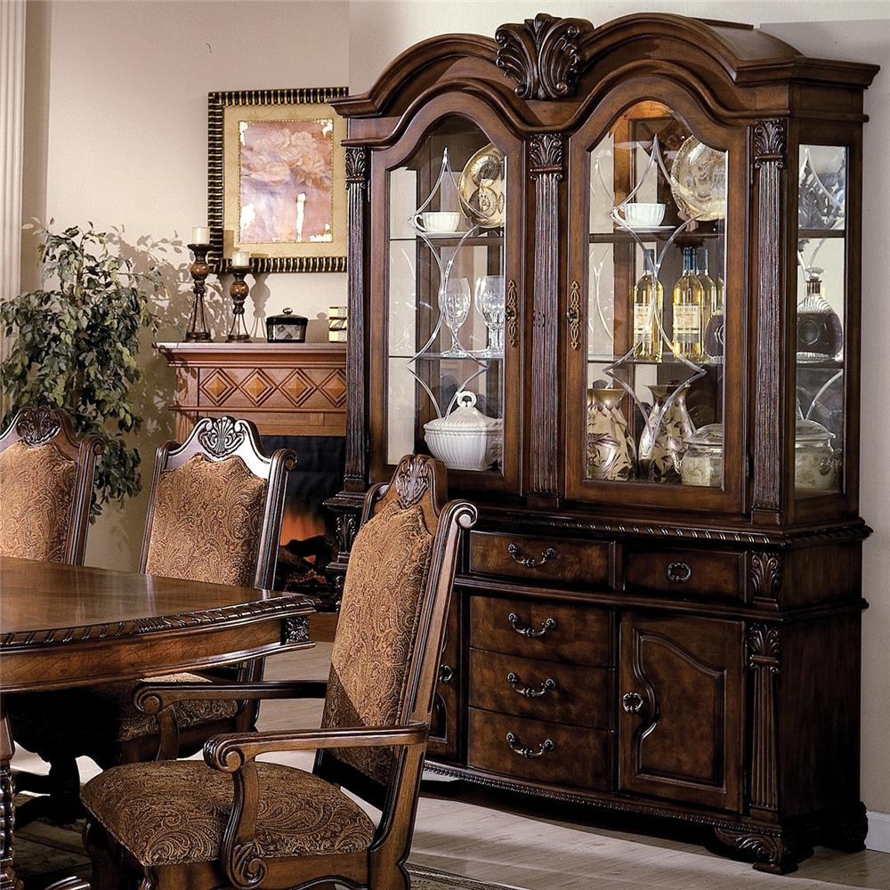 Crown Mark Neo Renaissance Buffet and Hutch with Two Glass