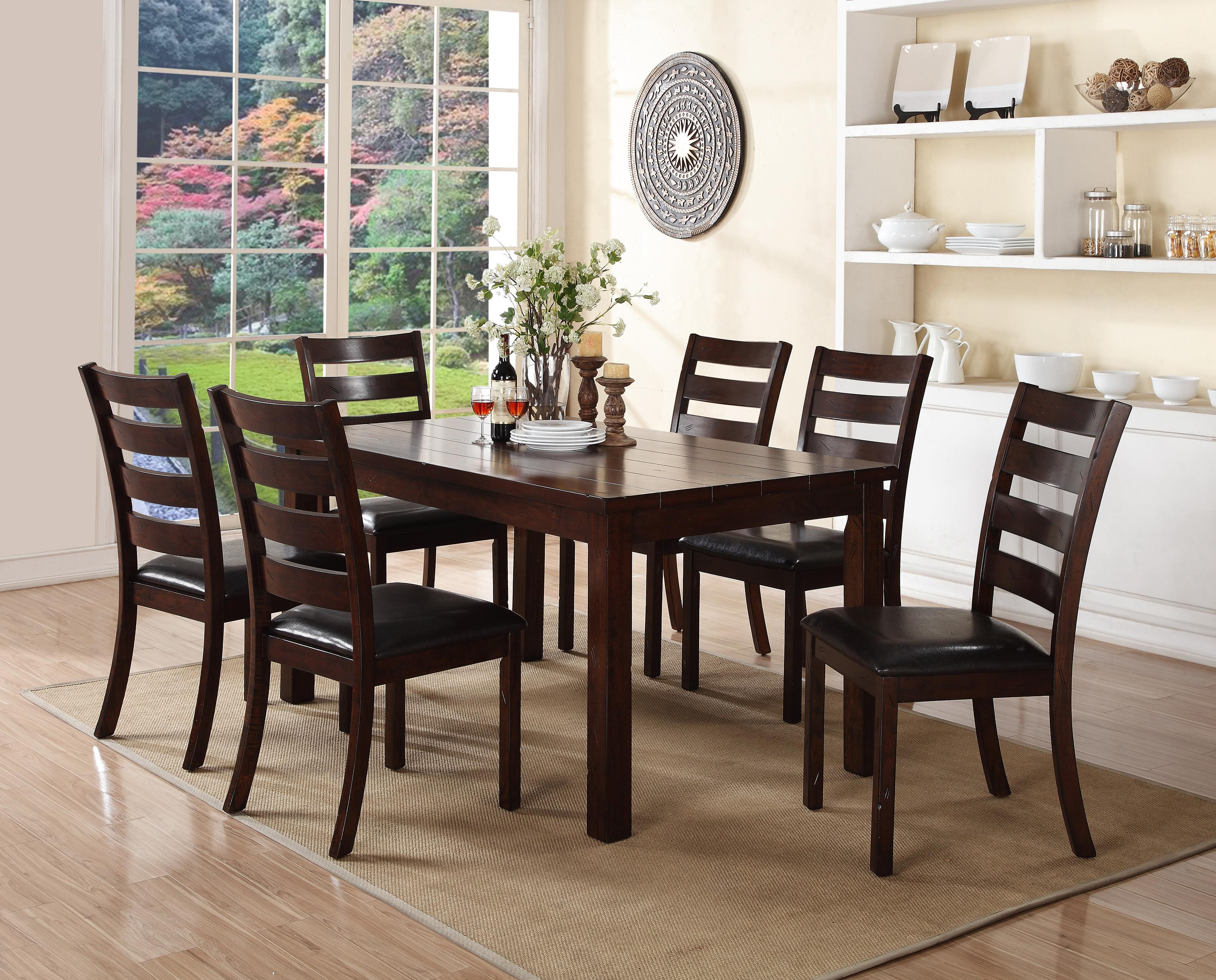 Crown mark quinn 7 piece rectangular table and upholstered for Dining table to seat 20