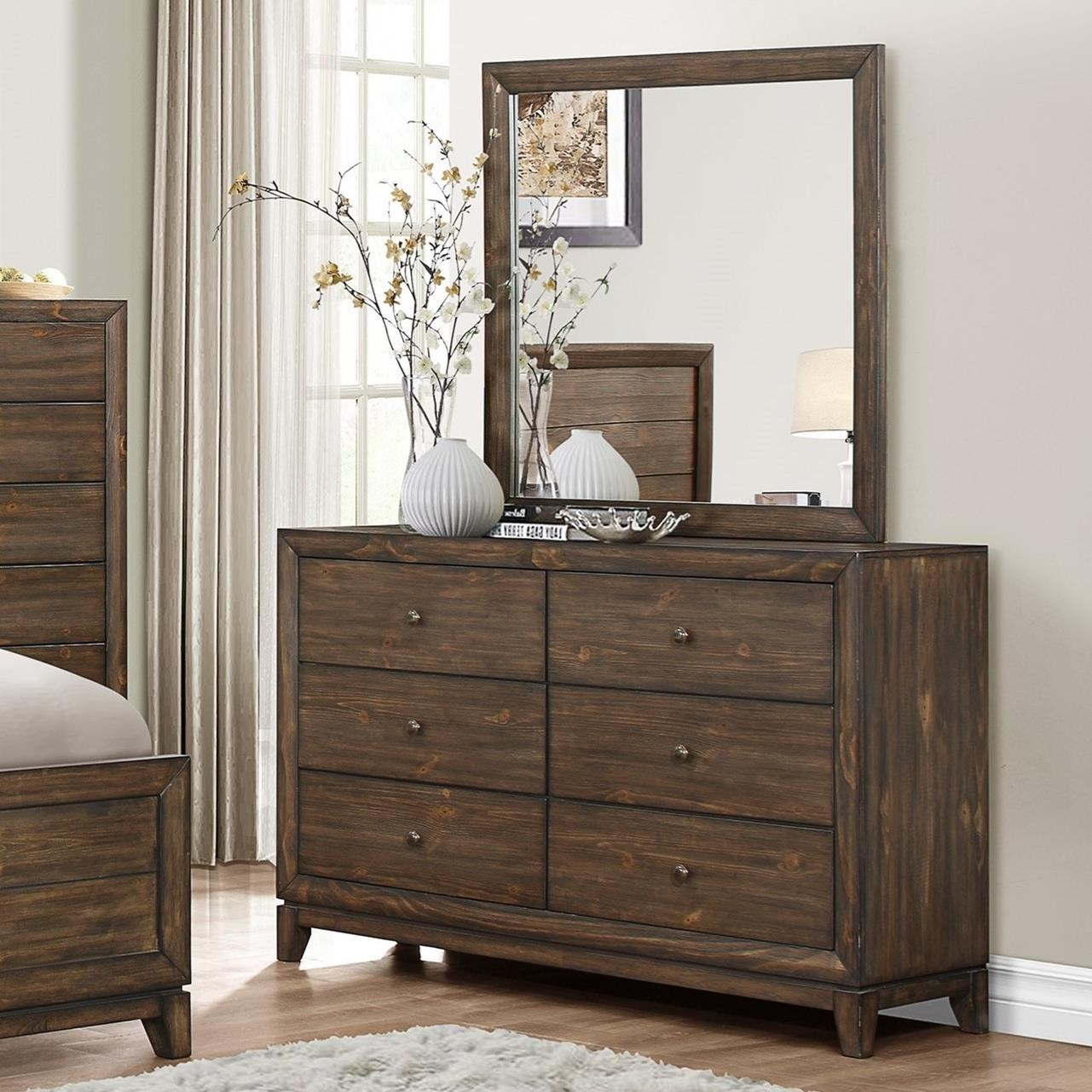 Crown mark rhone 6 drawer dresser and mirror set dunk for Furniture markup