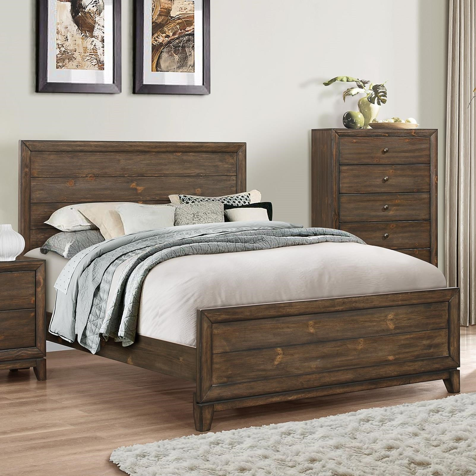 Crown mark rhone queen planked headboard and footboard bed for Queen footboard