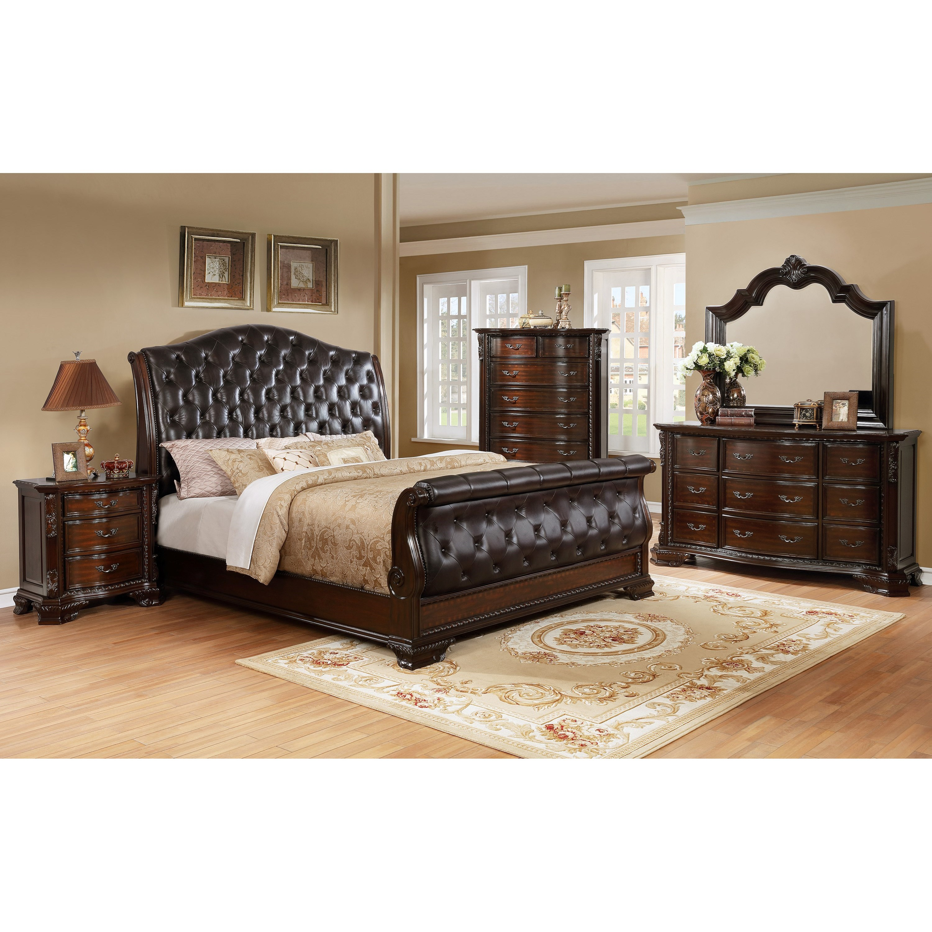 crown mark sheffield upholstered king sleigh bed with button tufting furniture superstore nm. Black Bedroom Furniture Sets. Home Design Ideas