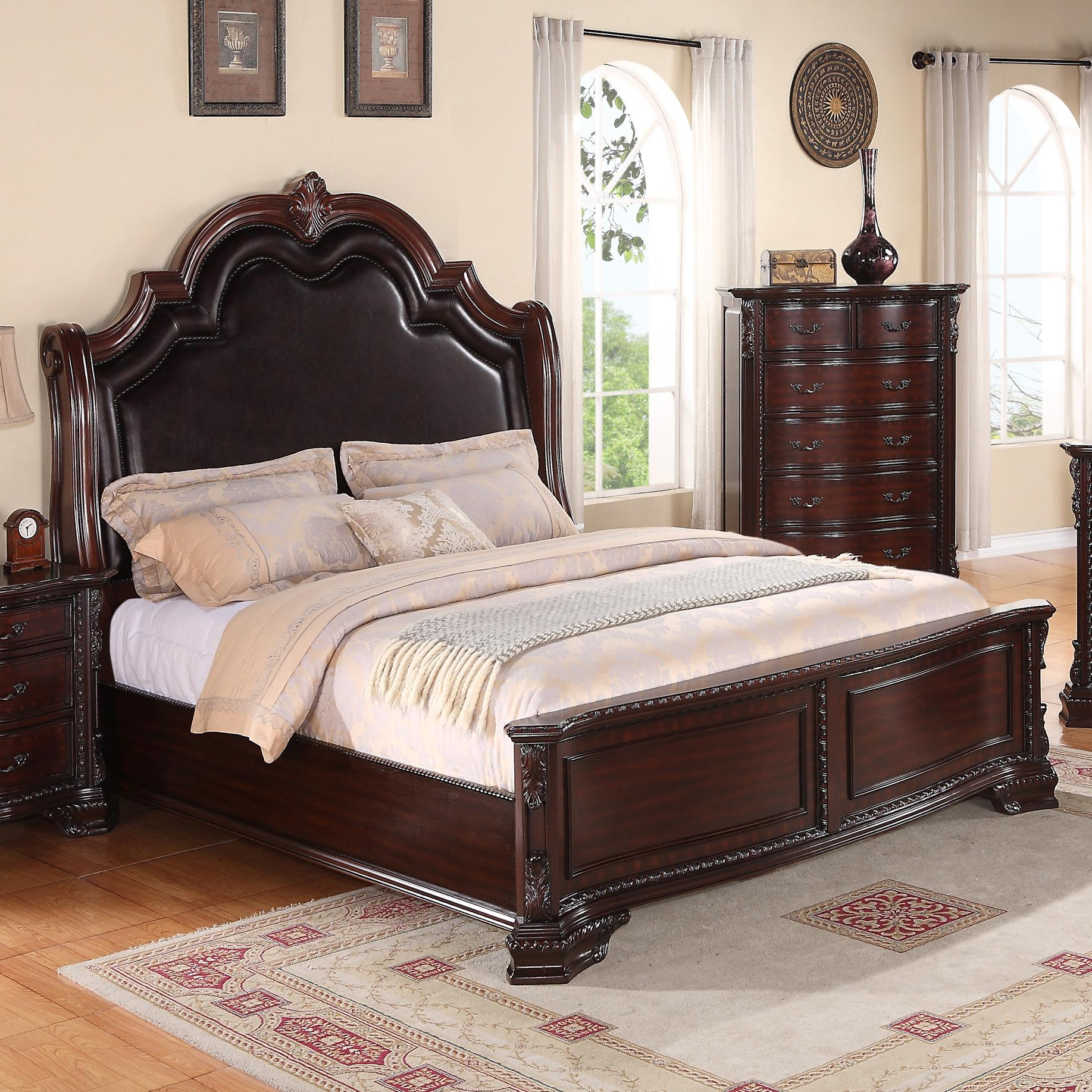 Crown mark sheffield queen panel bed with upholstered for Furniture markup