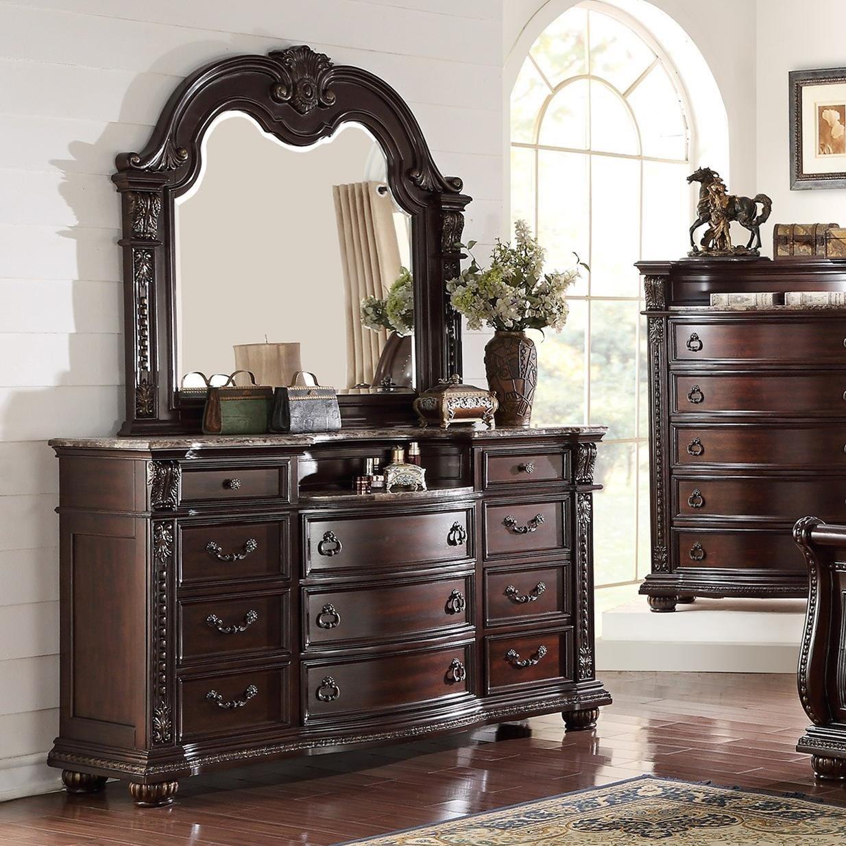 Crown mark stanley bedroom traditional dresser and mirror set royal furniture dresser for Stanley furniture bedroom set