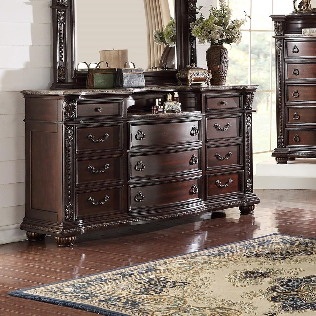 Crown mark stanley bedroom traditional dresser royal for Furniture markup