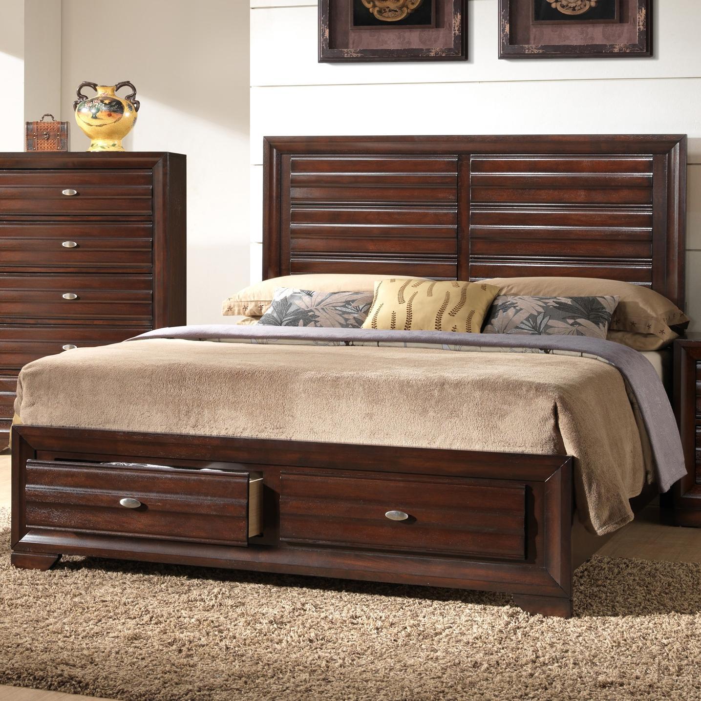Crown Mark Stella King Storage Headboard Footboard Bed Del Sol Furniture Panel Beds