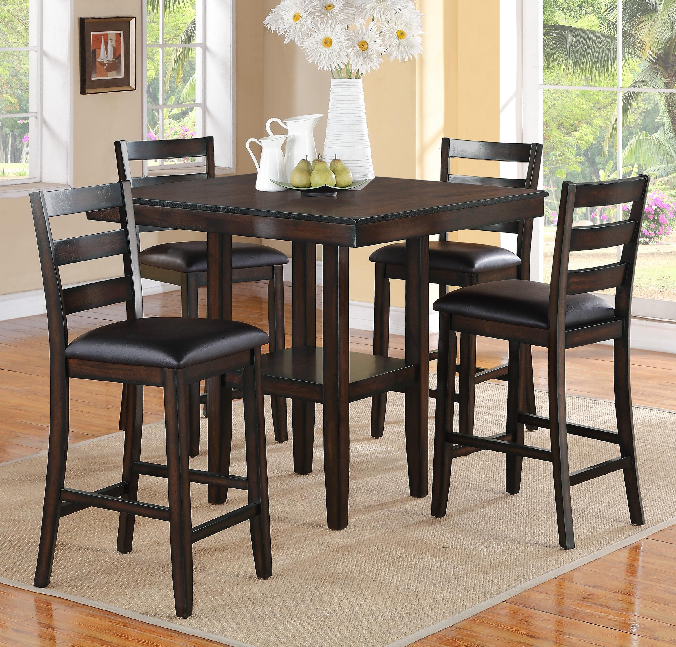 Crown mark tahoe 2630set 5 piece counter height table and - Bar height pub table and chairs ...