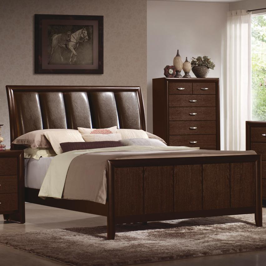 Essex king upholstered headboard bed with sleigh styling for Bedroom furniture essex