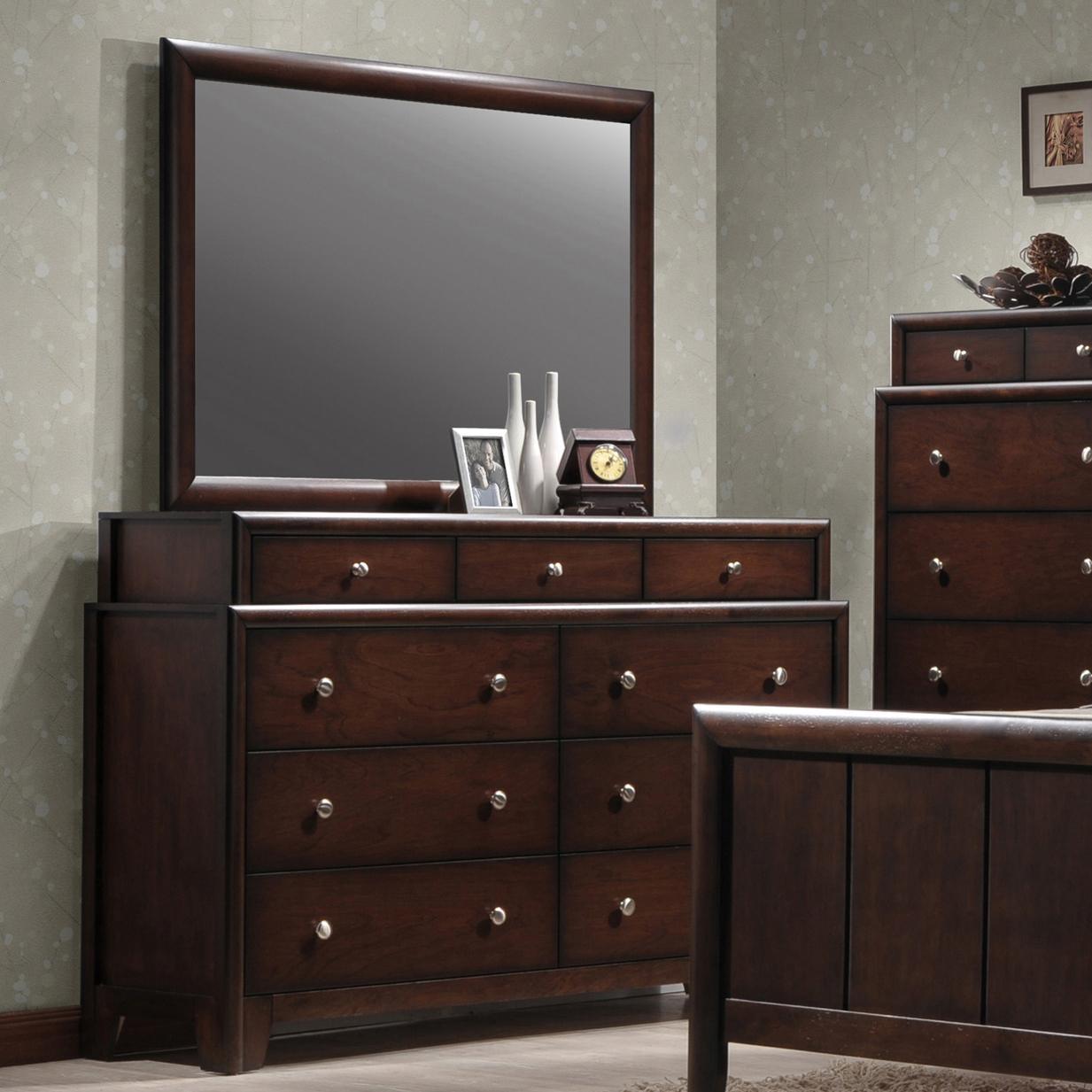Crown mark rivoli two tier dresser and rectangular mirror for Bedroom bureau knobs
