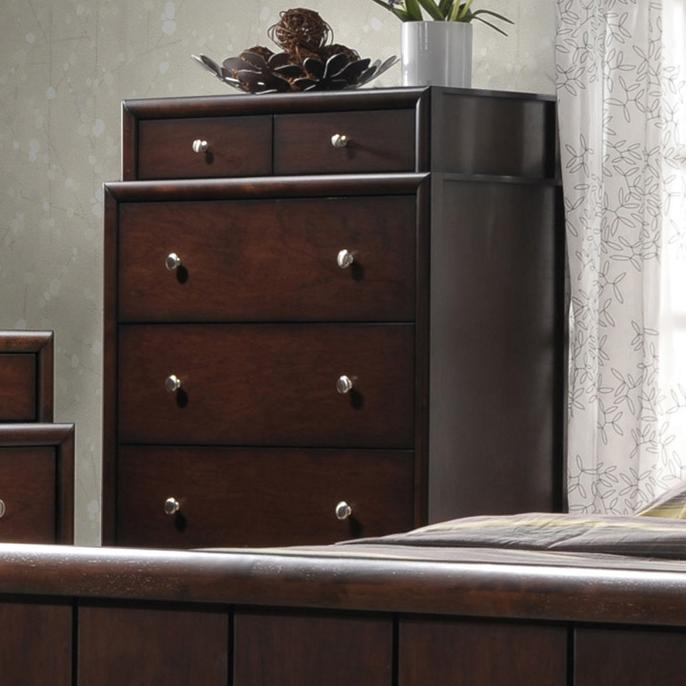 Crown mark rivoli two tier chest of drawers with silver for Bedroom bureau knobs