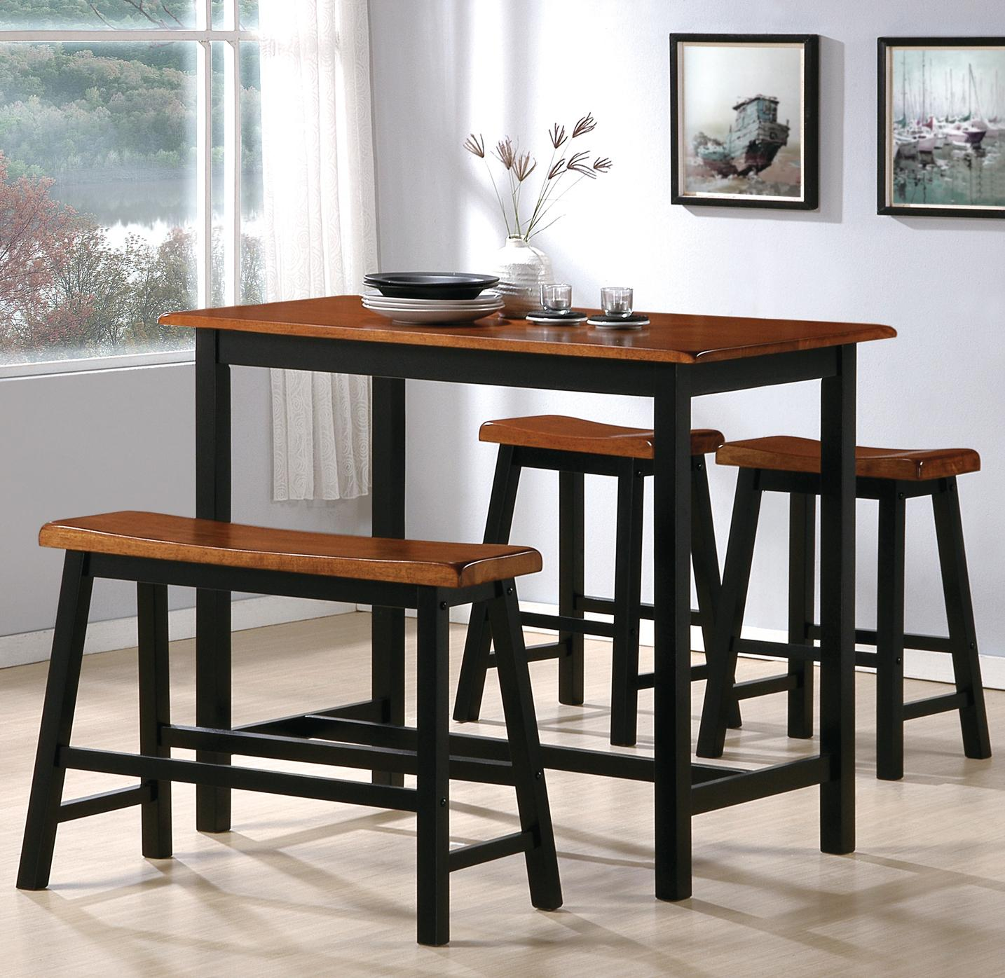 Crown mark tyler 2729set 4 piece counter height table set for Small dining set with bench