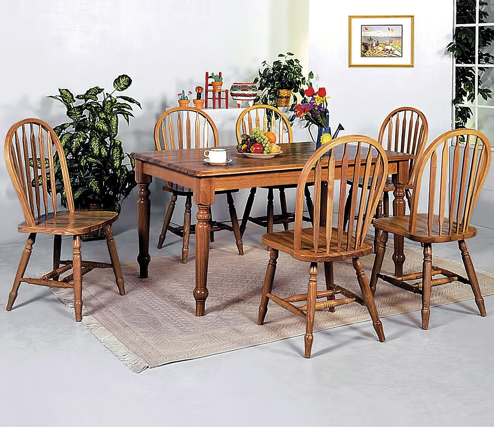 crown mark windsor solid 7 piece rectangular leg dining table and side chairs set del sol. Black Bedroom Furniture Sets. Home Design Ideas