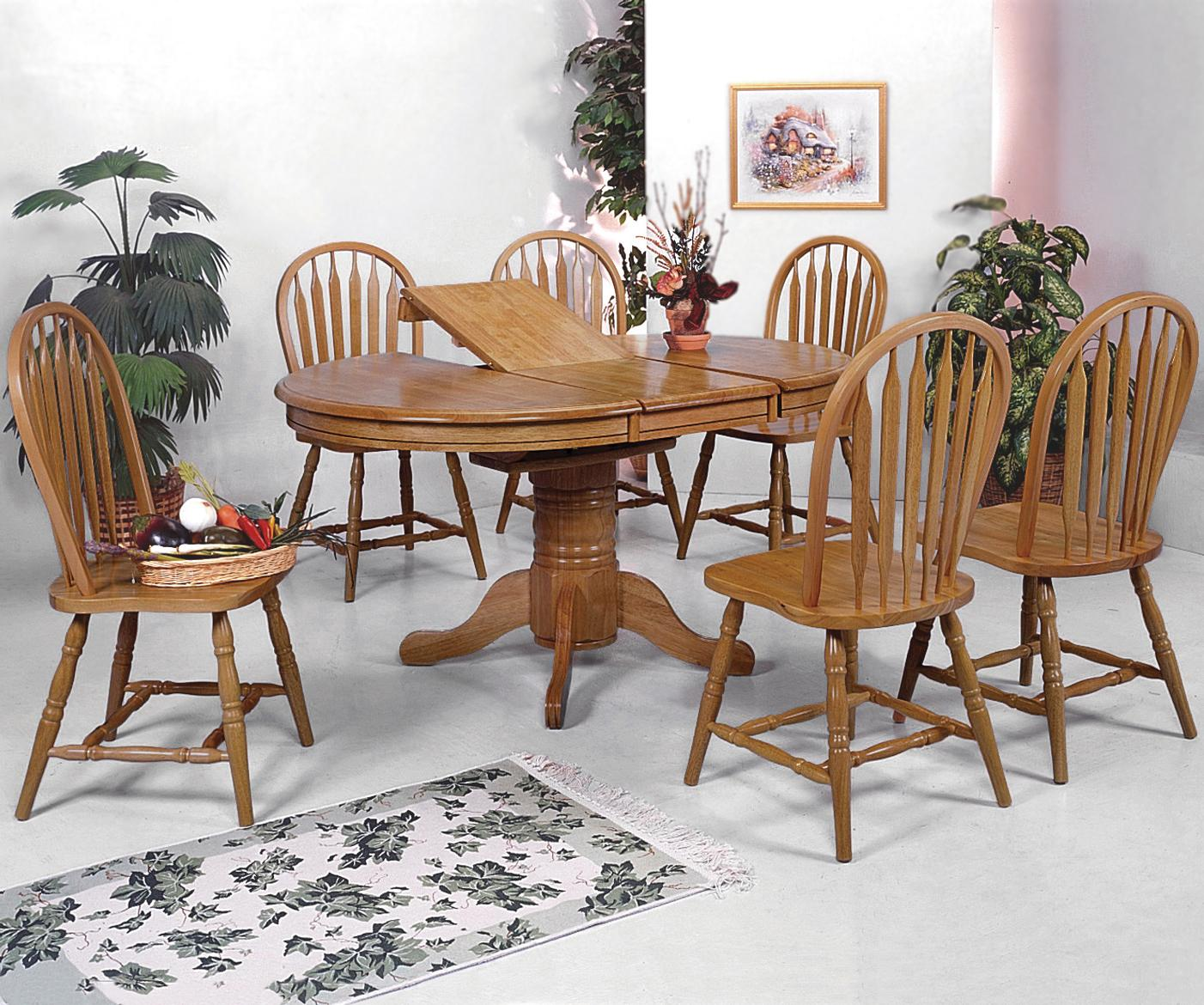 Solid Oak Dining Tables And Chairs: Crown Mark Windsor Solid 7 Piece Oval Dining Table And