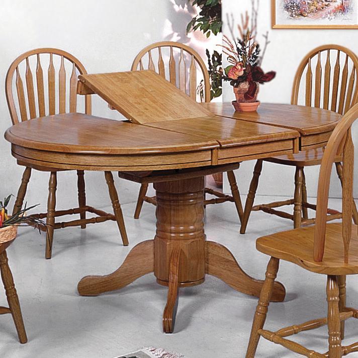 Crown mark windsor solid oval pedestal dining table for Oval pedestal dining table