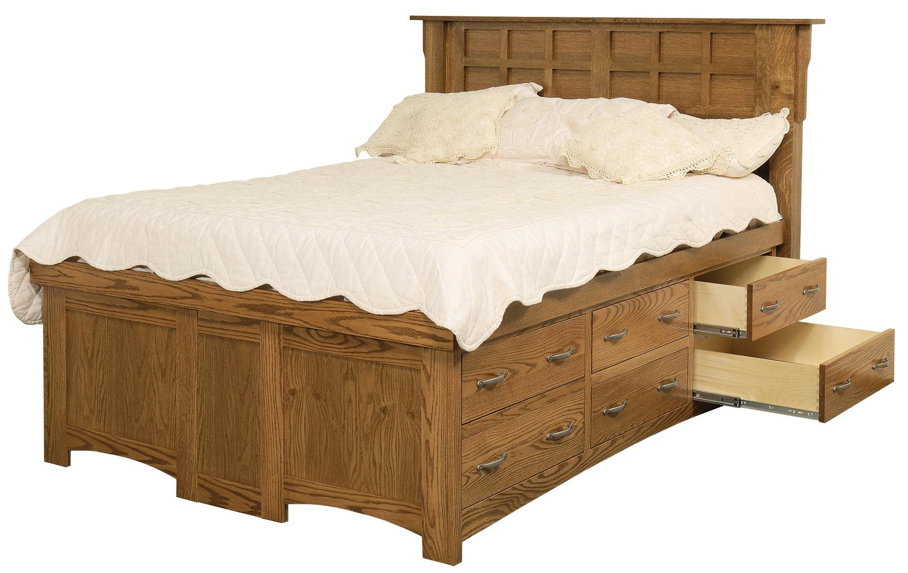 King Solid Wood Pedestal Bed With 12 Drawers