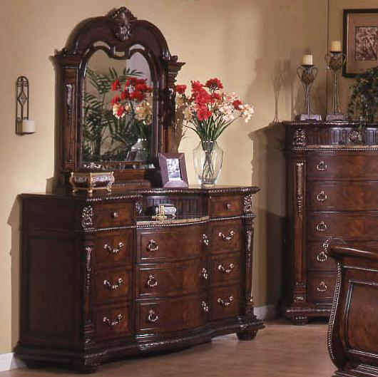 Davis Direct Coventry Traditional 11 Drawer Dresser With Laminated Marble Top And Elegant