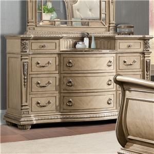 Davis direct monaco queen sleigh bed dresser mirror nightstand great american home store Davis home furniture outlet