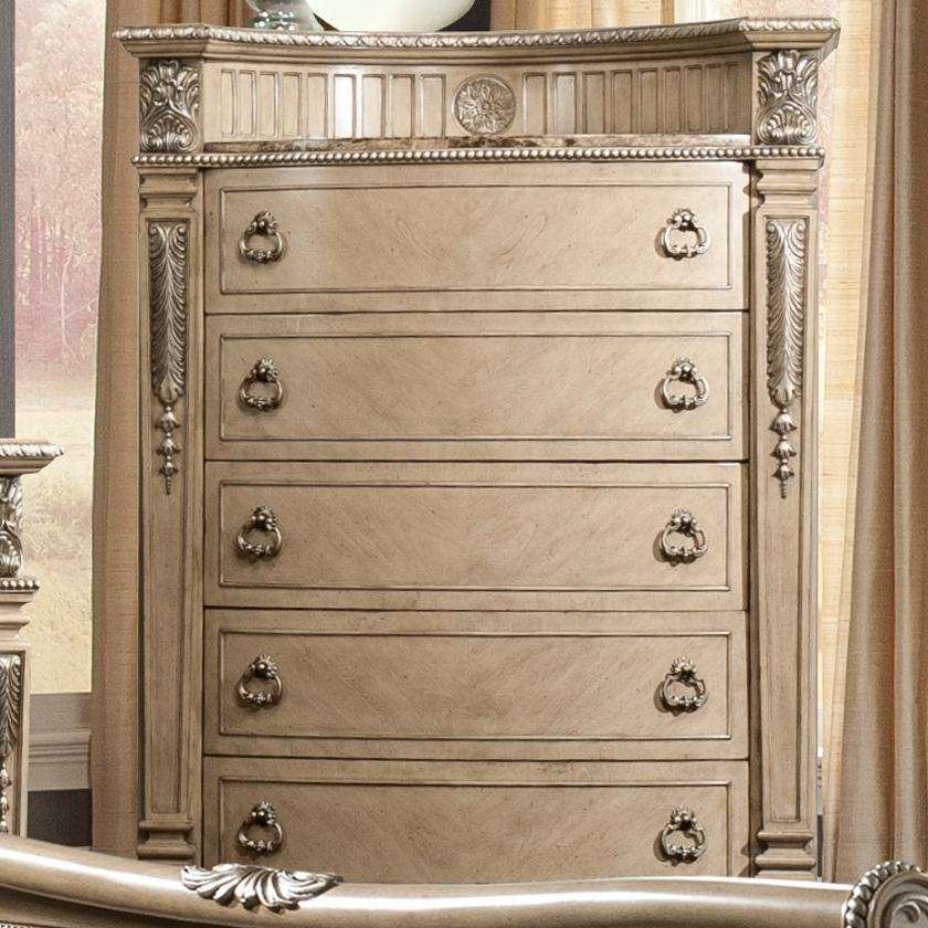 Davis Direct Monaco 4146 391 Traditional Five Drawer Chest With Embossed Gallery And Laminate