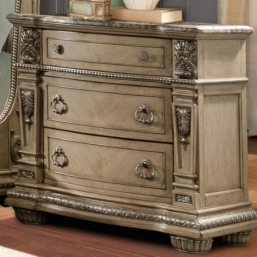 Davis Direct Monaco 4146 402 Traditional Nightstand With Laminated Marble Top Great American