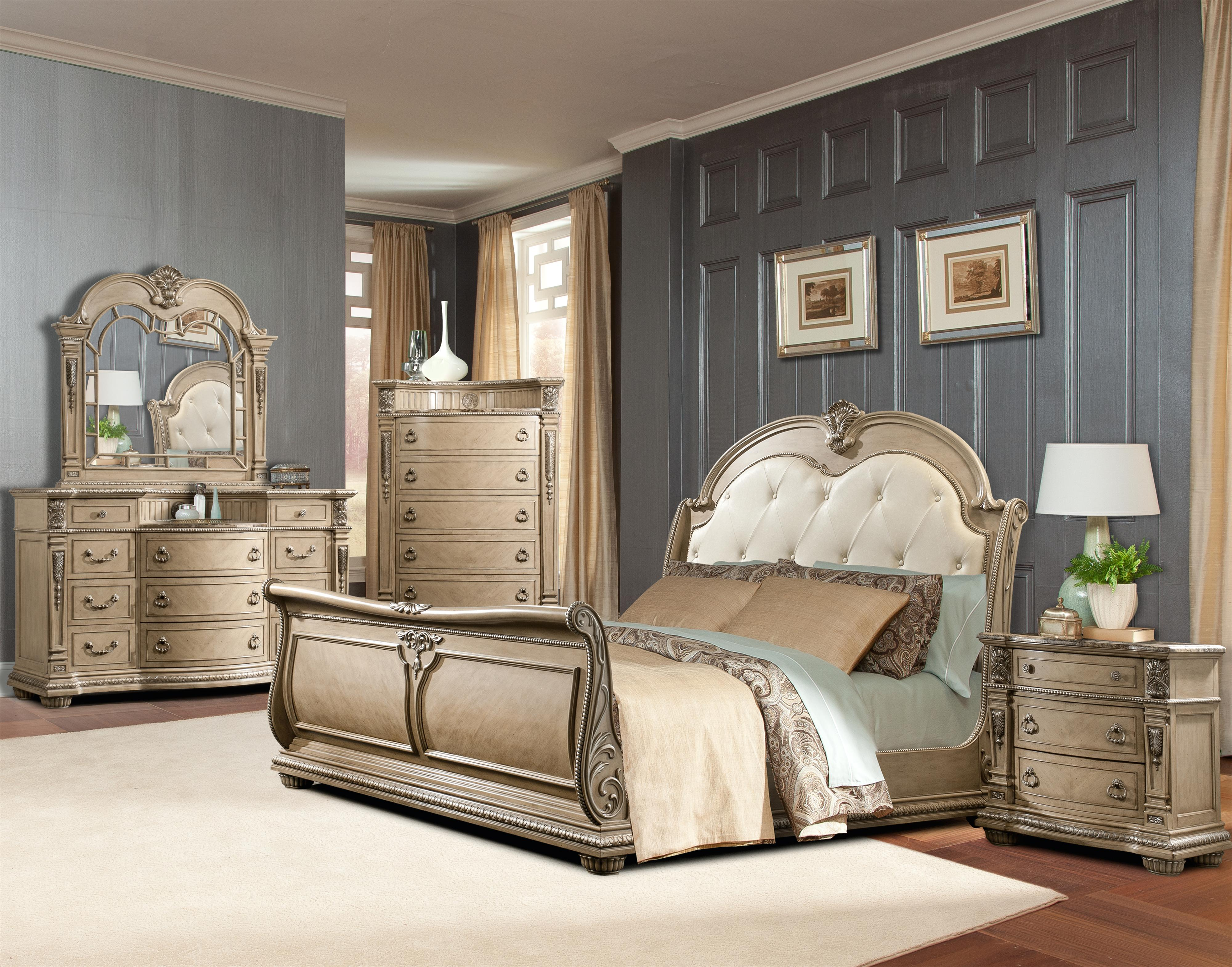 Davis Direct Monaco Queen Sleigh Bed With Diamond Tufted Headboard Great American Home Store