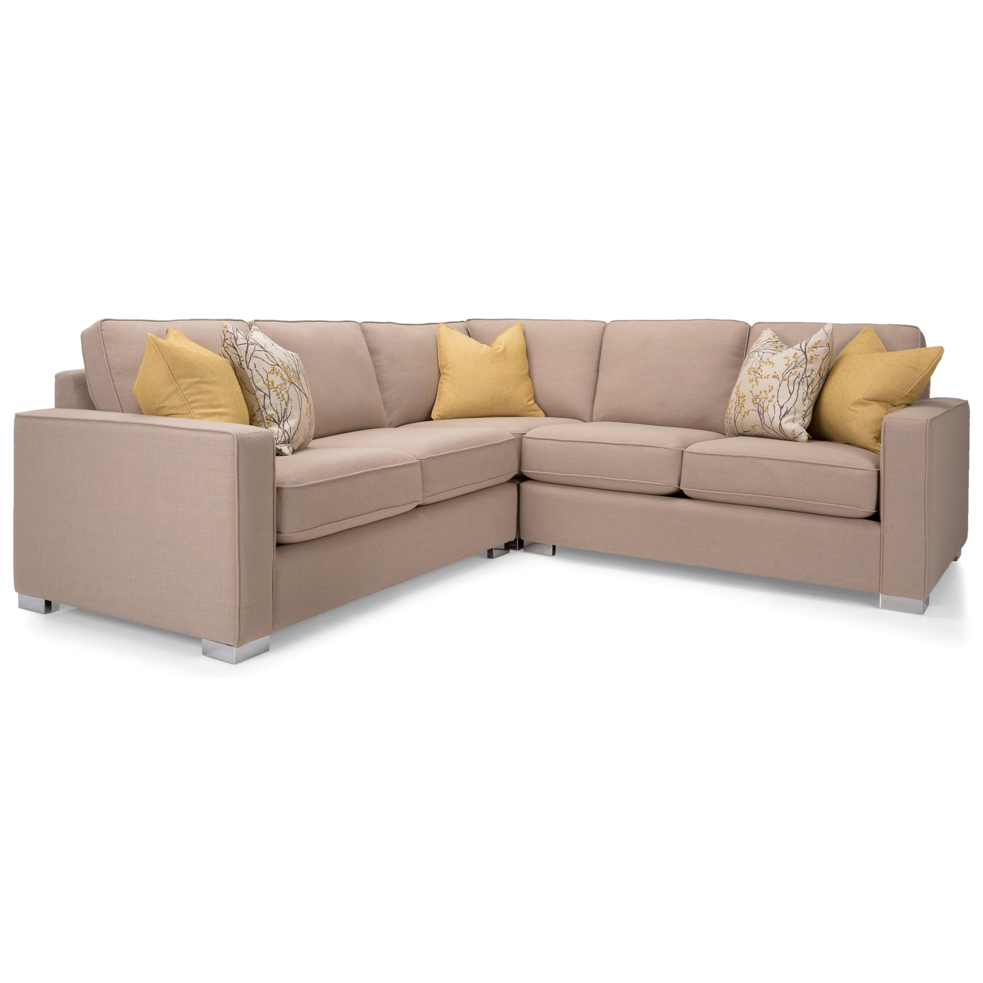 Decor rest 7743 three piece corner sectional sofa stoney for 3 piece corner sectional sofa