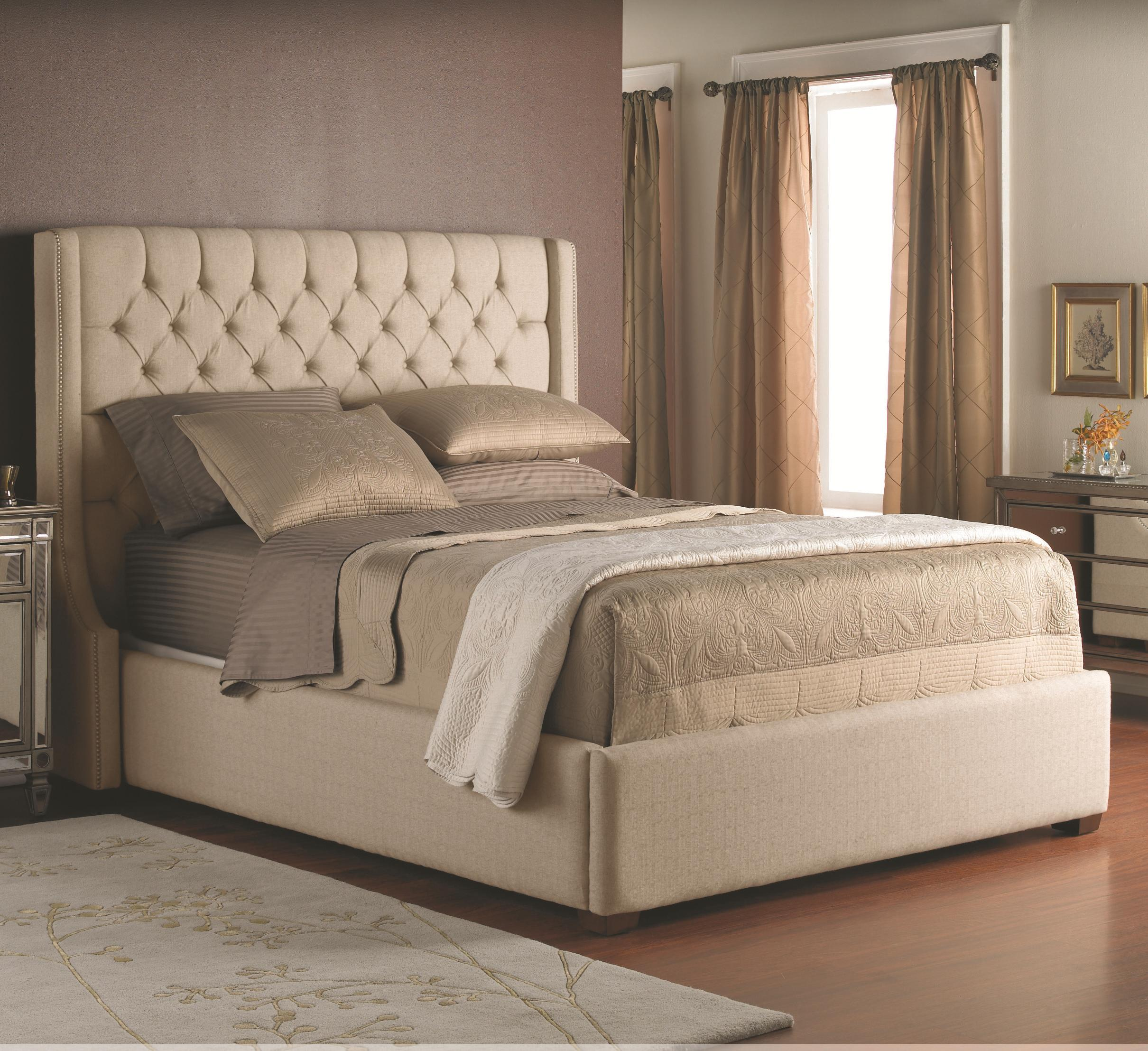 decor rest beds queen fabric headboard and base stoney creek furniture upholstered bed. Black Bedroom Furniture Sets. Home Design Ideas