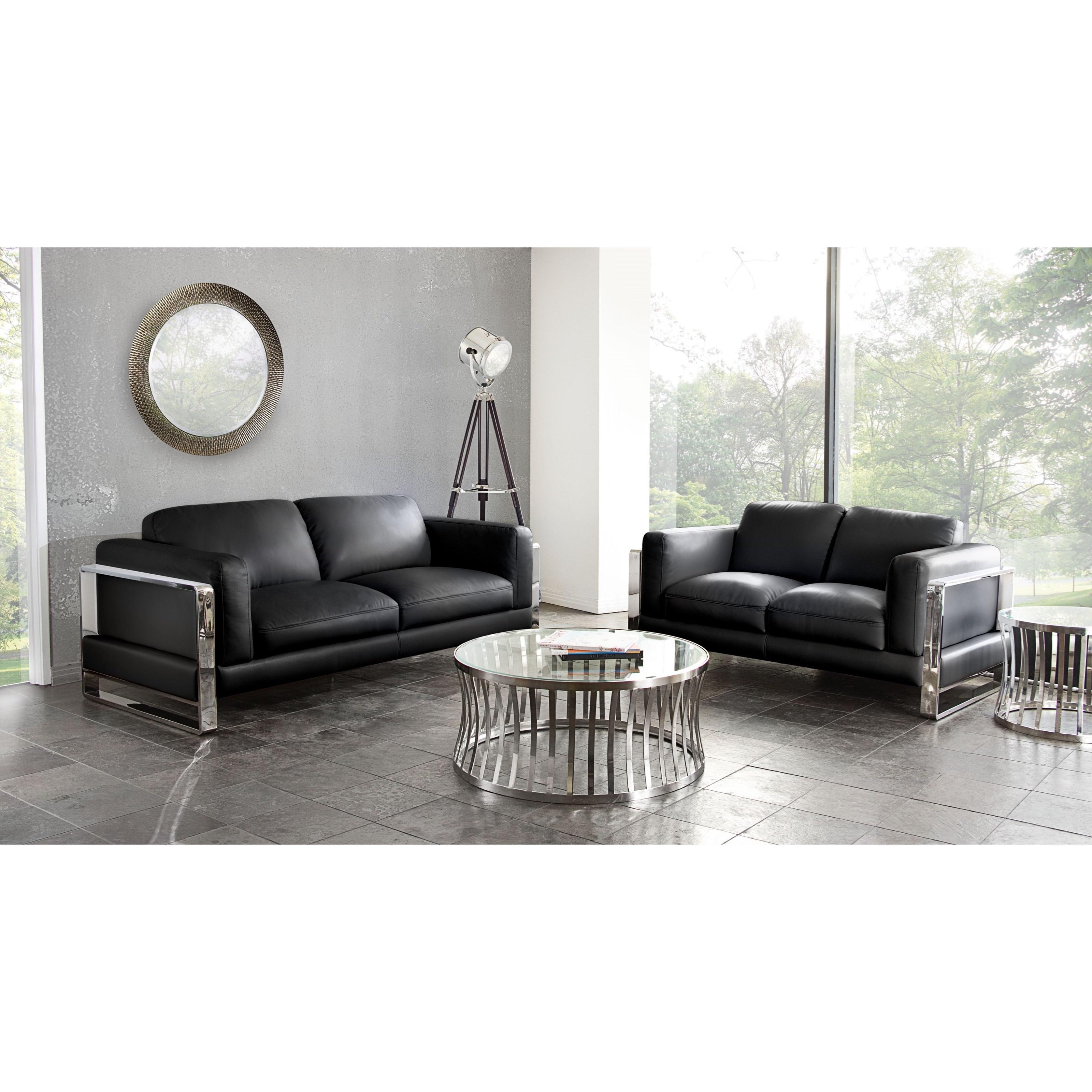 Diamond Sofa Annika Annikaslbl Sofa And Loveseat Set With Polished Stainless Steel Arm Del Sol