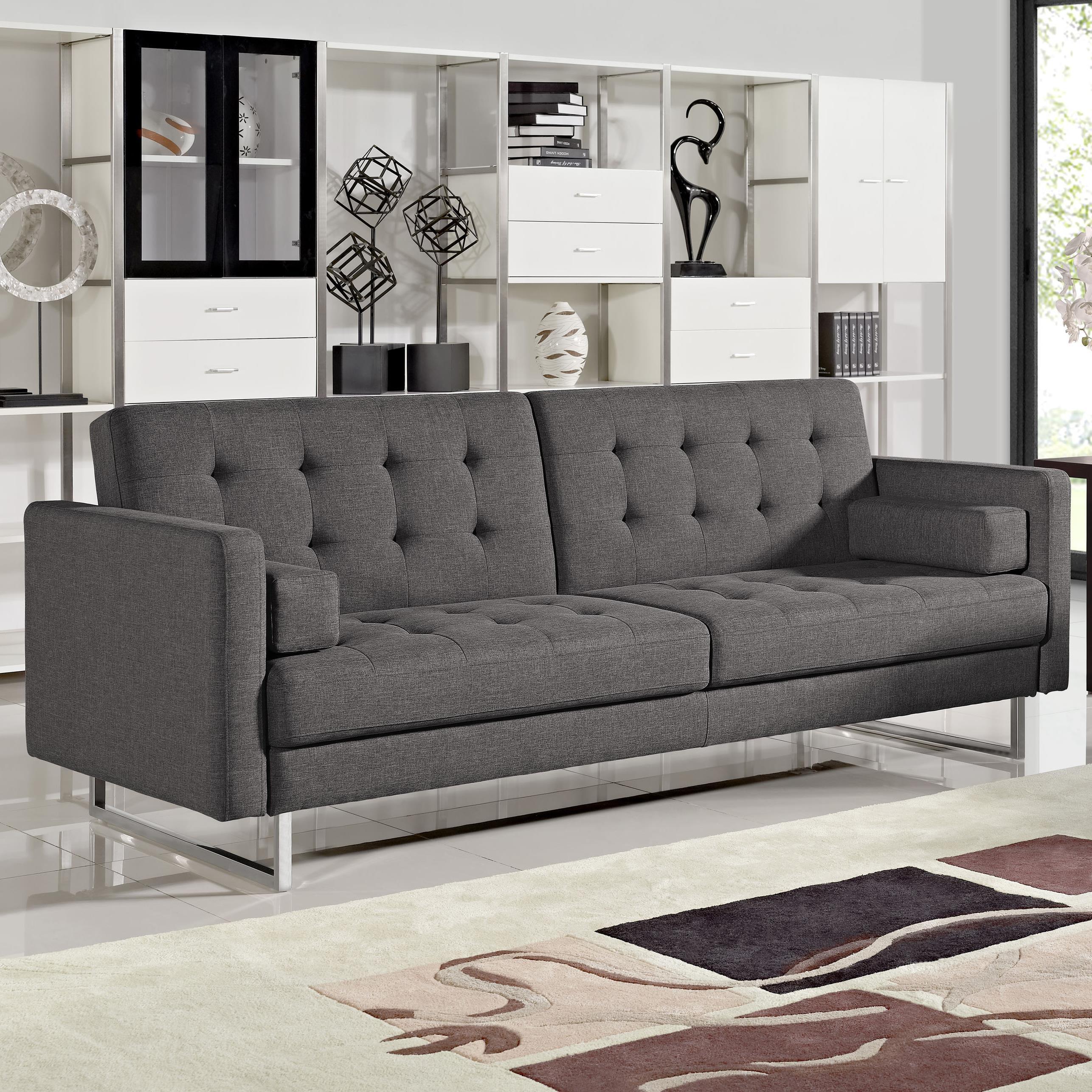 Diamond Sofa Opus Convertible Grey Tufted Polyester Fabric