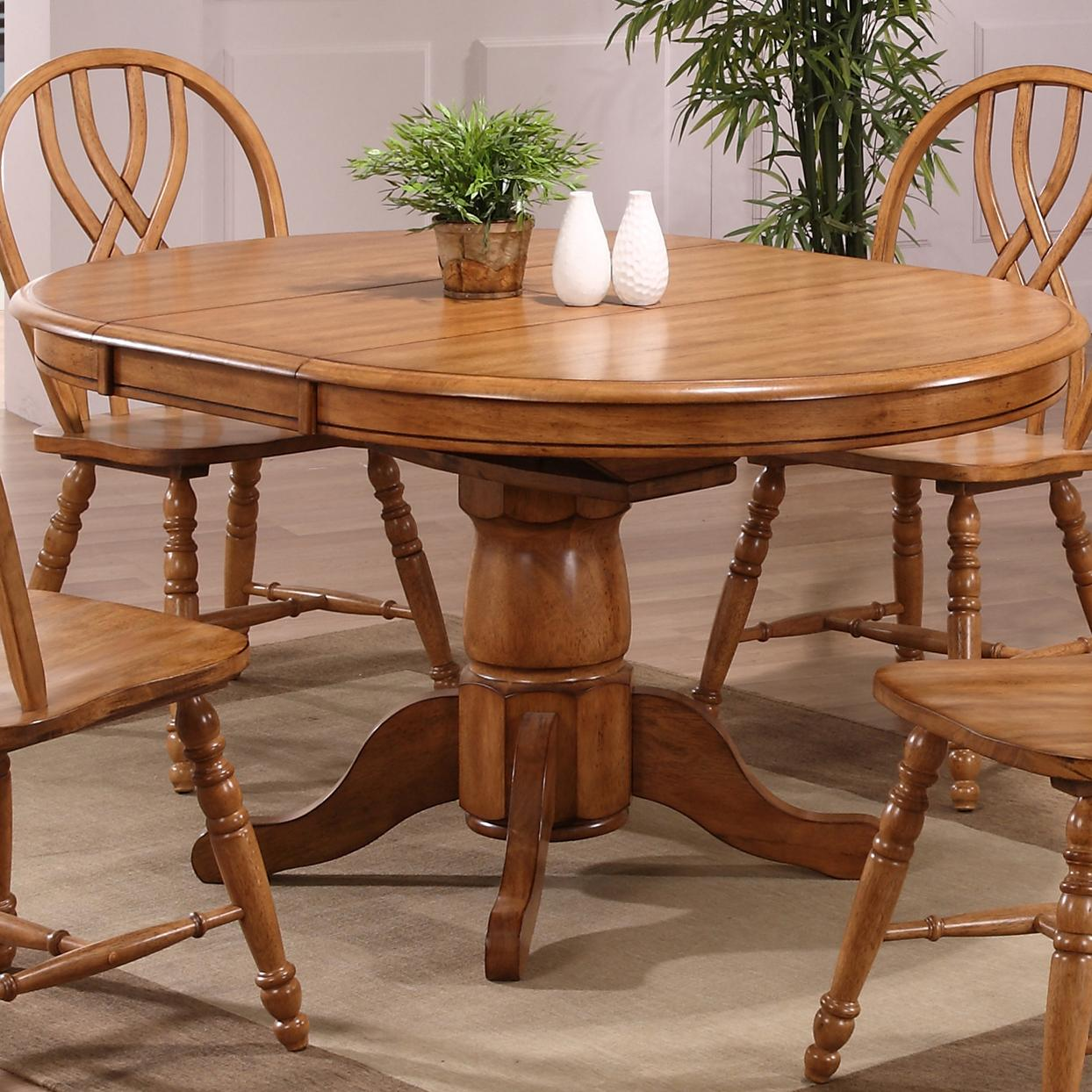 E.C.I. Furniture Dining Solid Oak Single Pedestal Dining ...