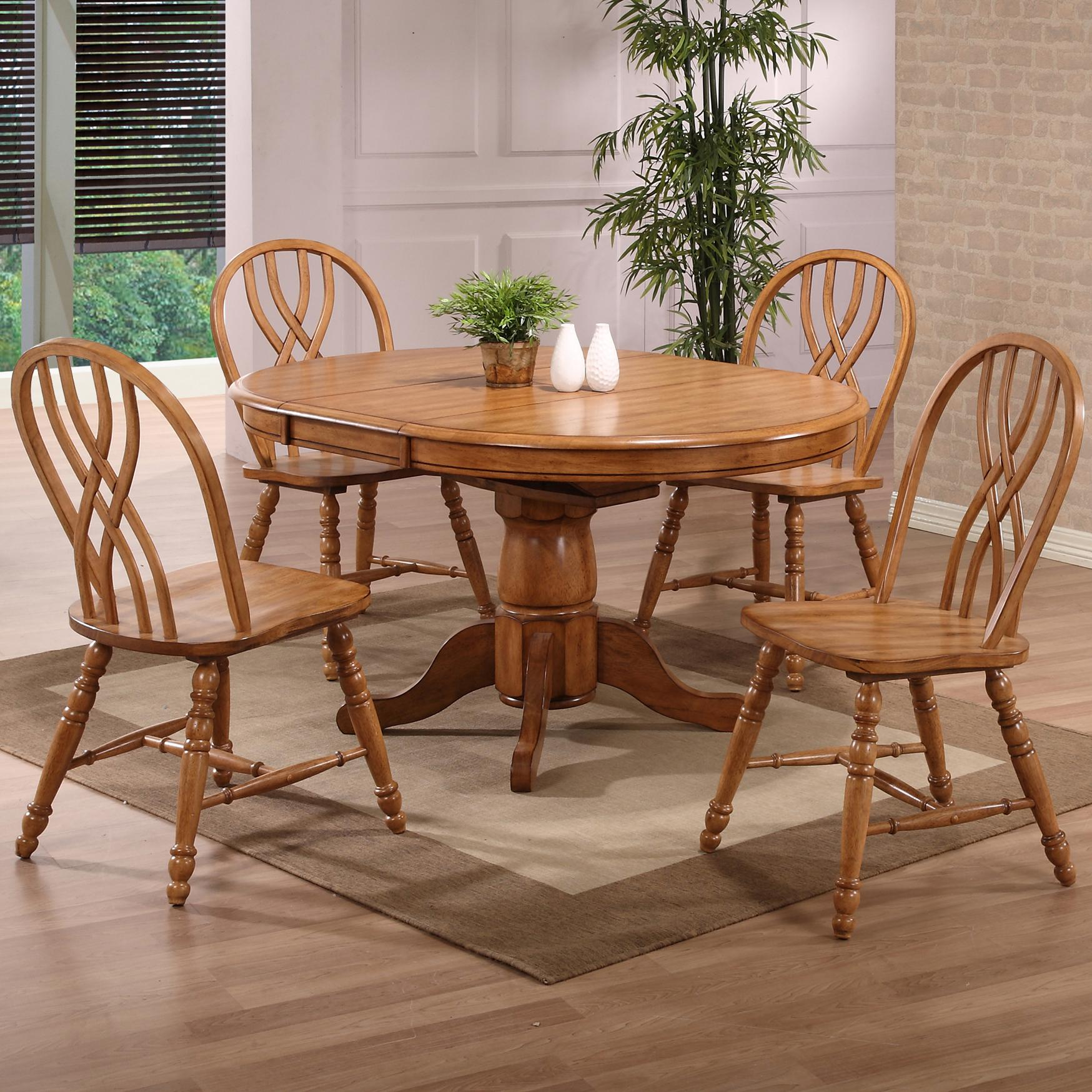 E c i furniture dining solid oak single pedestal dining for Single dining room chairs