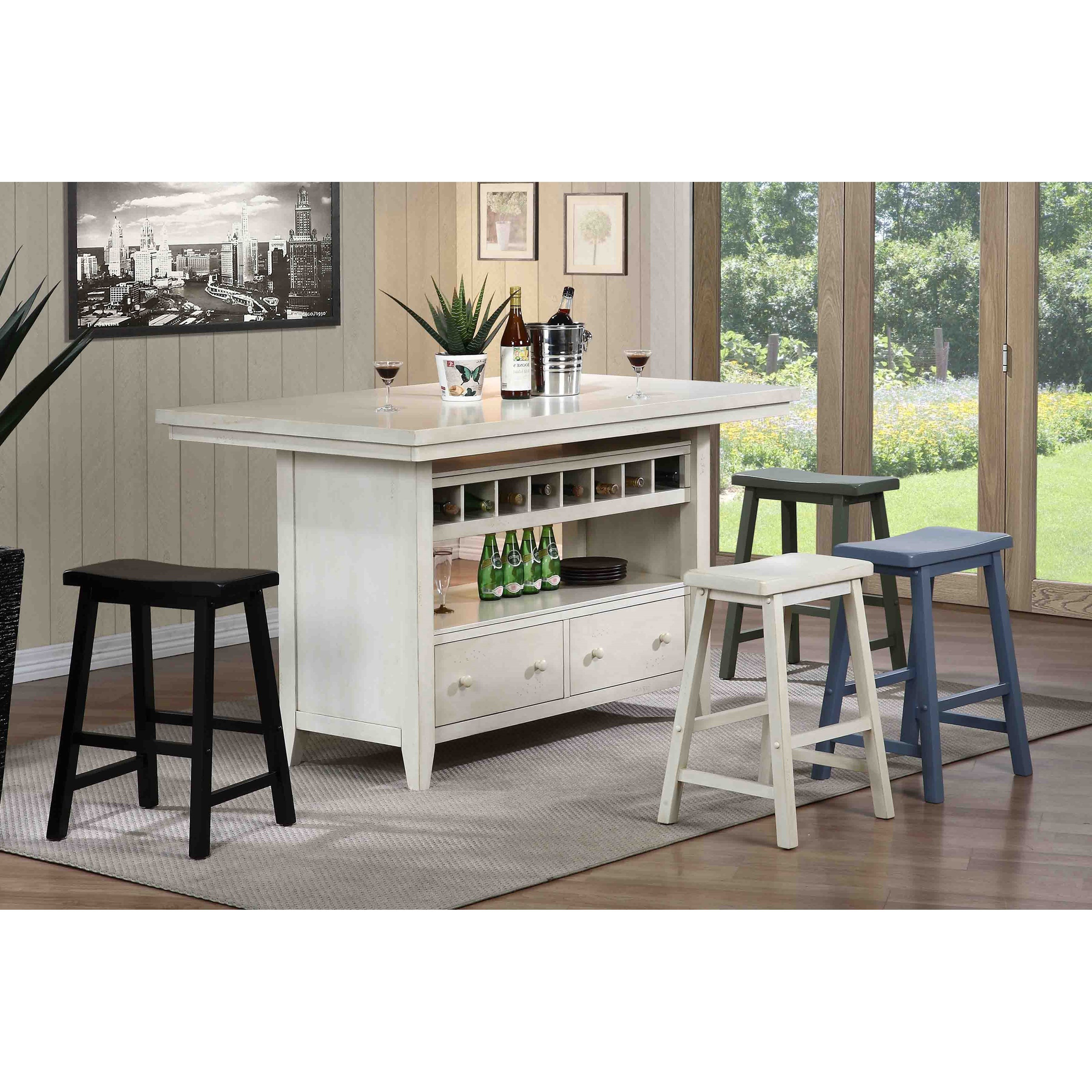 E c i furniture dining casual kitchen island group dunk for Casual home kitchen island