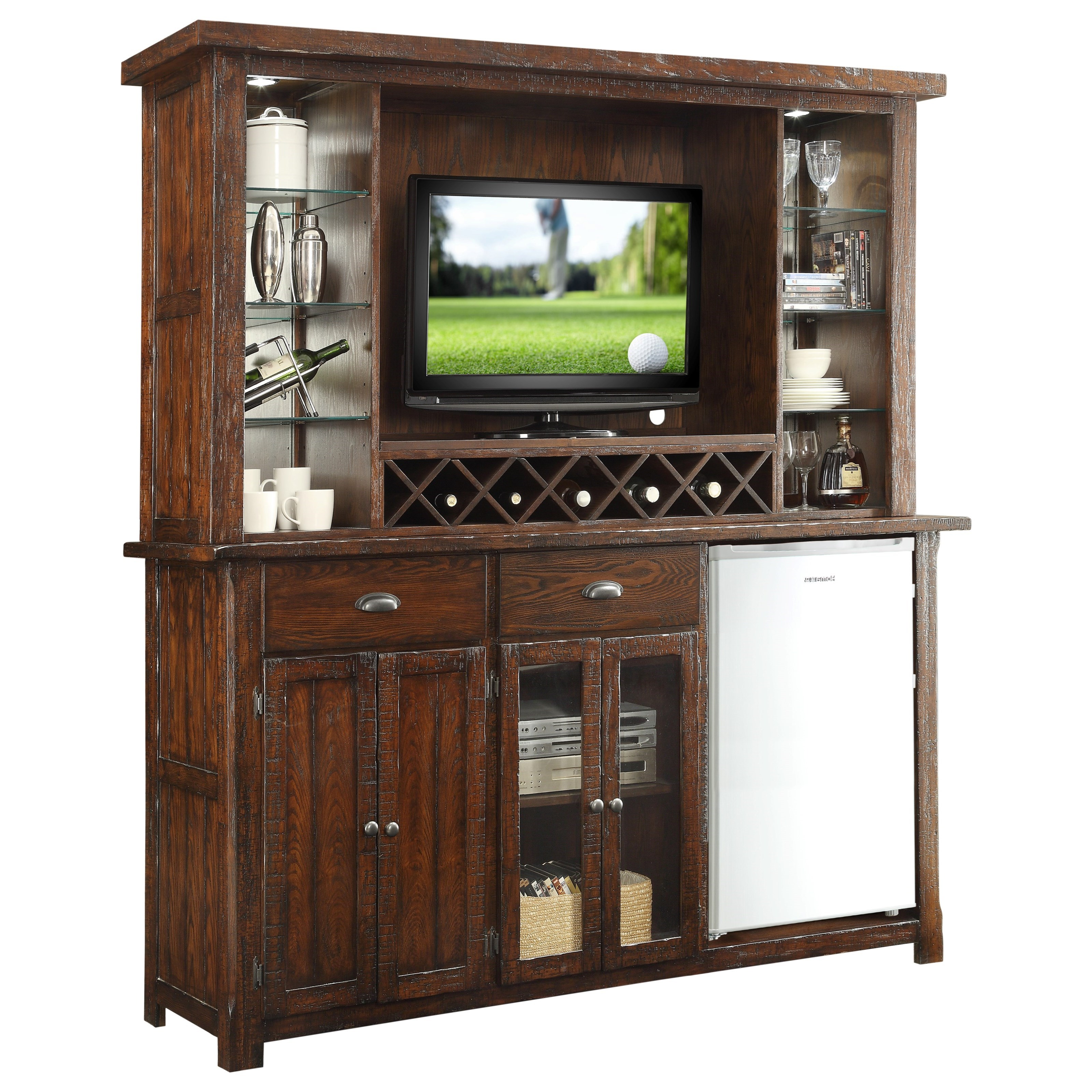 E c i furniture gettysburg gettysburg bar cabinet with for Built in wine bar cabinets