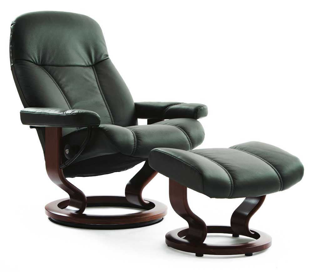 stressless by ekornes consul medium reclining chair ottoman with classic base conlin 39 s. Black Bedroom Furniture Sets. Home Design Ideas
