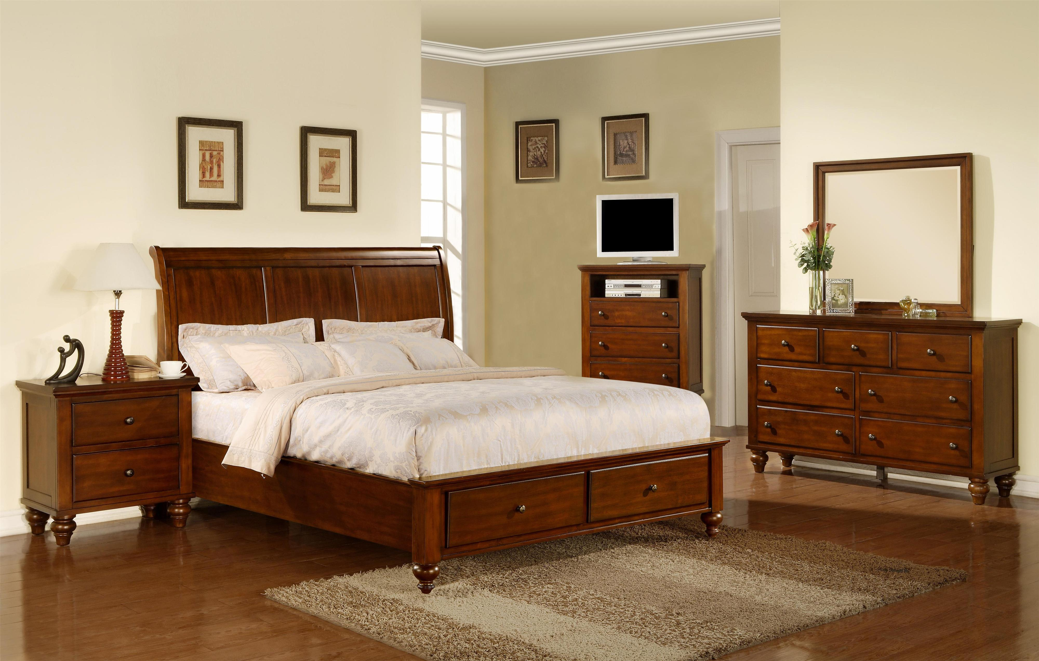 Elements International Chatham 5 Piece Queen Sleigh Bedroom Group Miskelly Furniture Bedroom