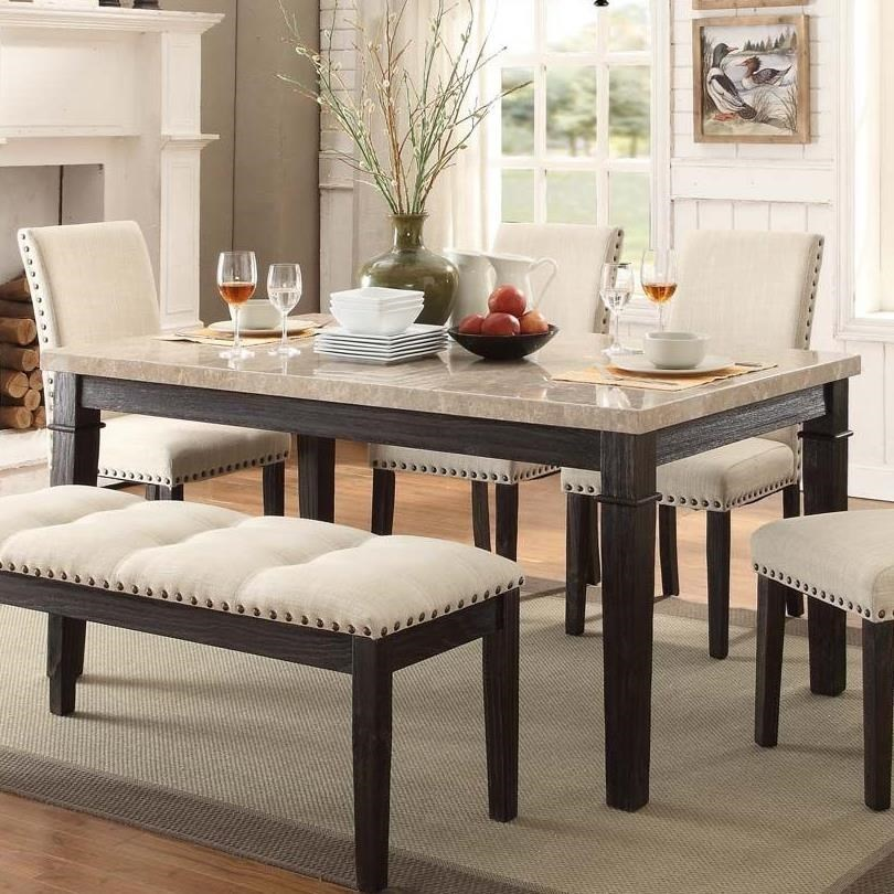 Elements International Greystone Dining Table with Faux