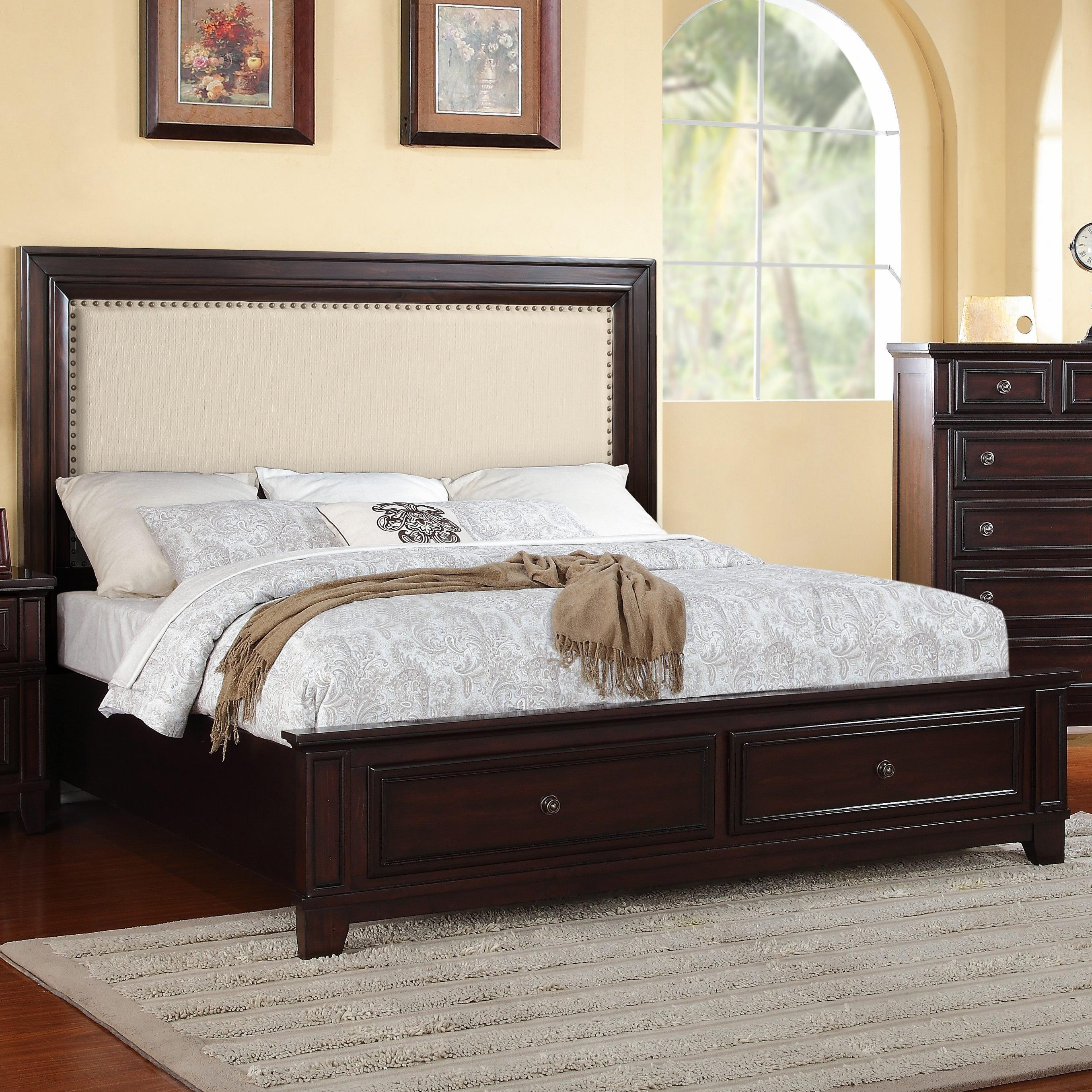 Elements International Harwich Queen Upholstered Low Profile Storage Bed Miskelly Furniture