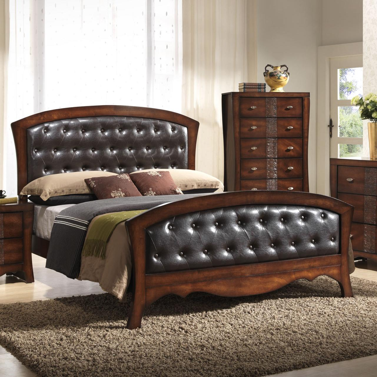 elements jenny queen panel bed with upholstered headboard and footboard royal furniture. Black Bedroom Furniture Sets. Home Design Ideas