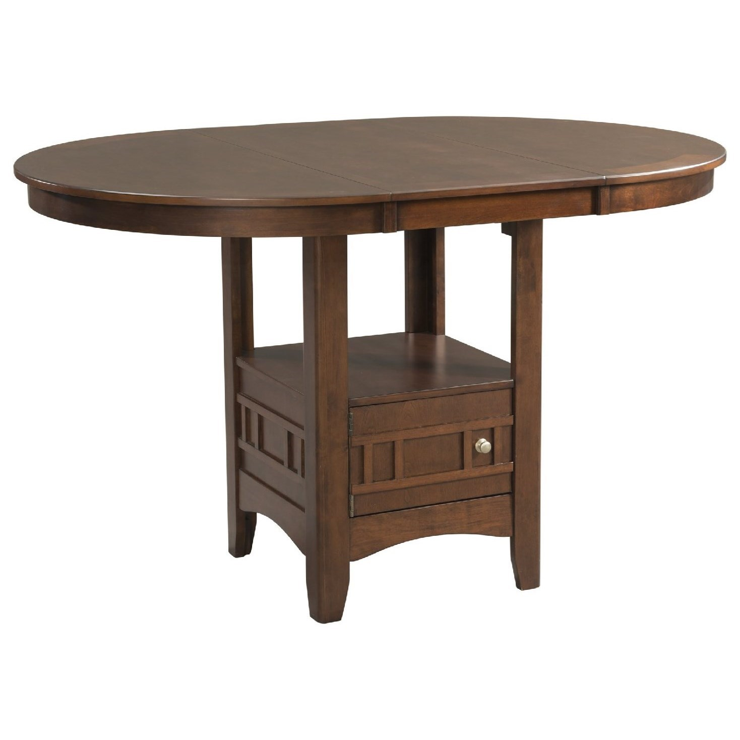 Elements International Max Pub Table with Storage and Leaf