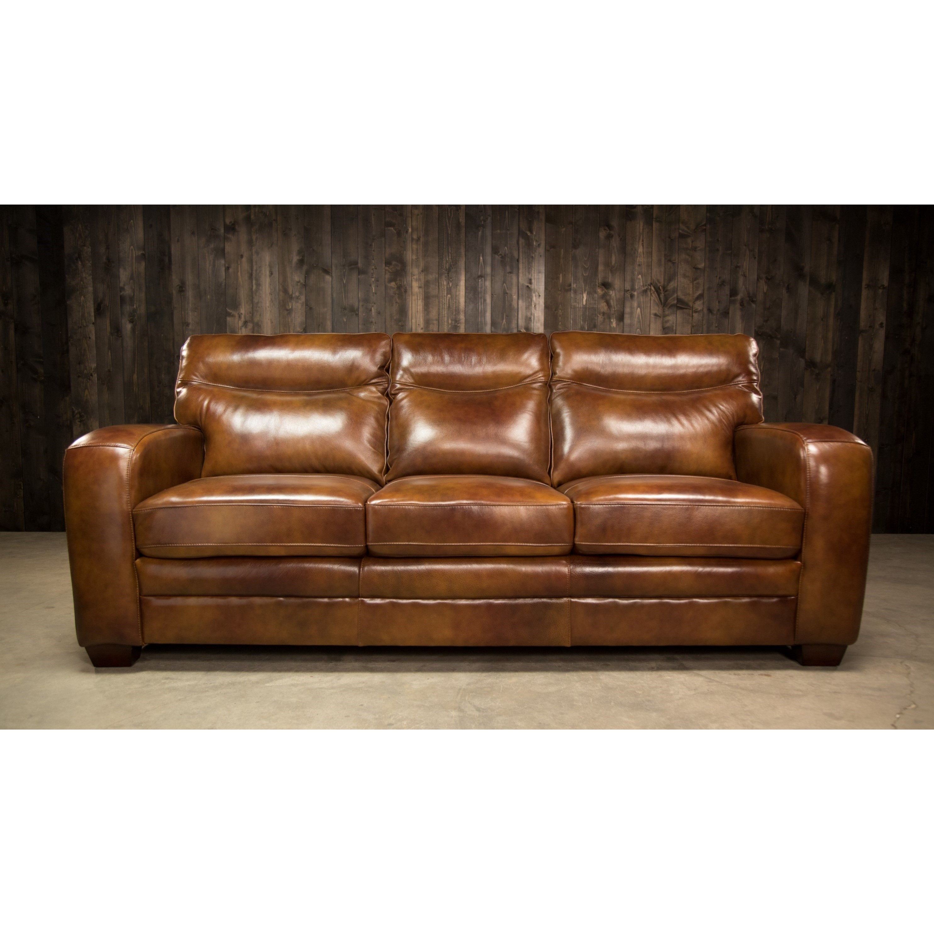 Elements international montebello leather sofa with low for Couch furniture