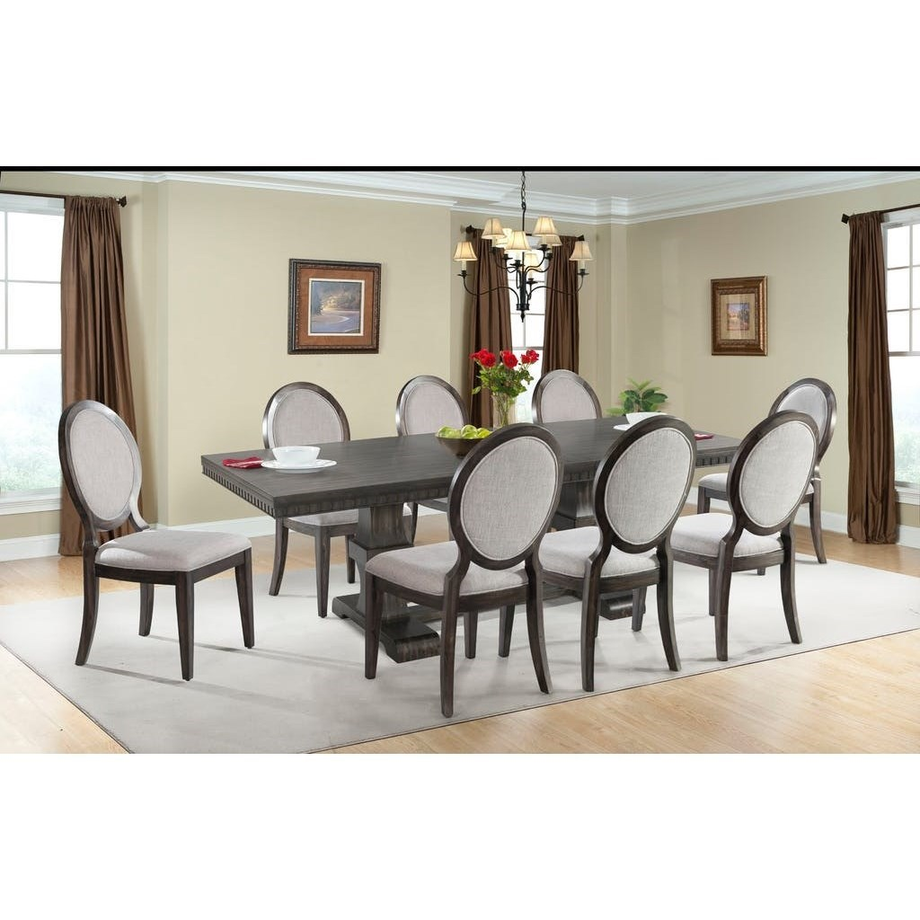 Dining Room 7 Piece Sets Elements International Morrison Table And Upholstered