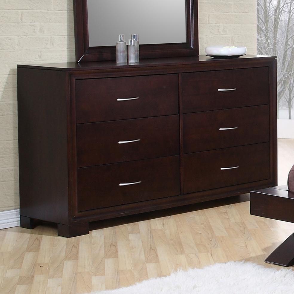 Elements International Raven Contemporary 6 Drawer Dresser Furniture Supers