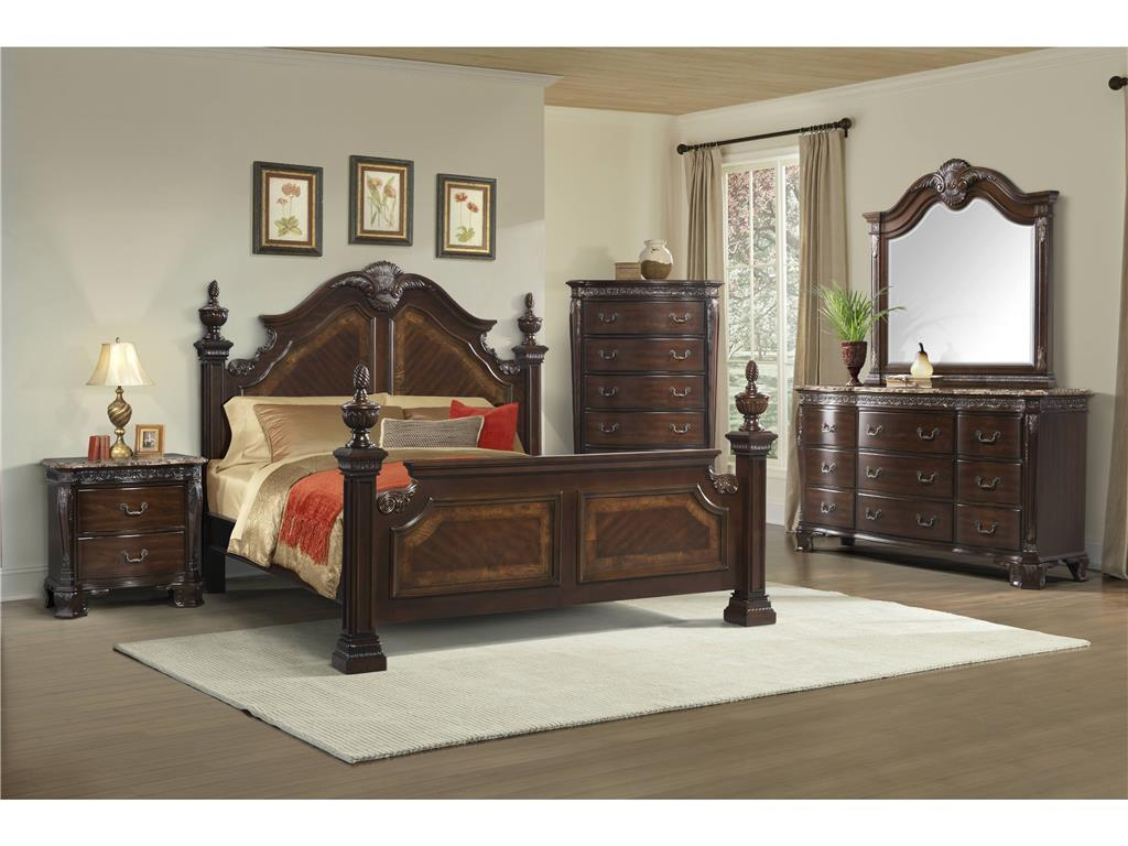 Elements international southern belle queen bedroom group for Bedroom furniture groups